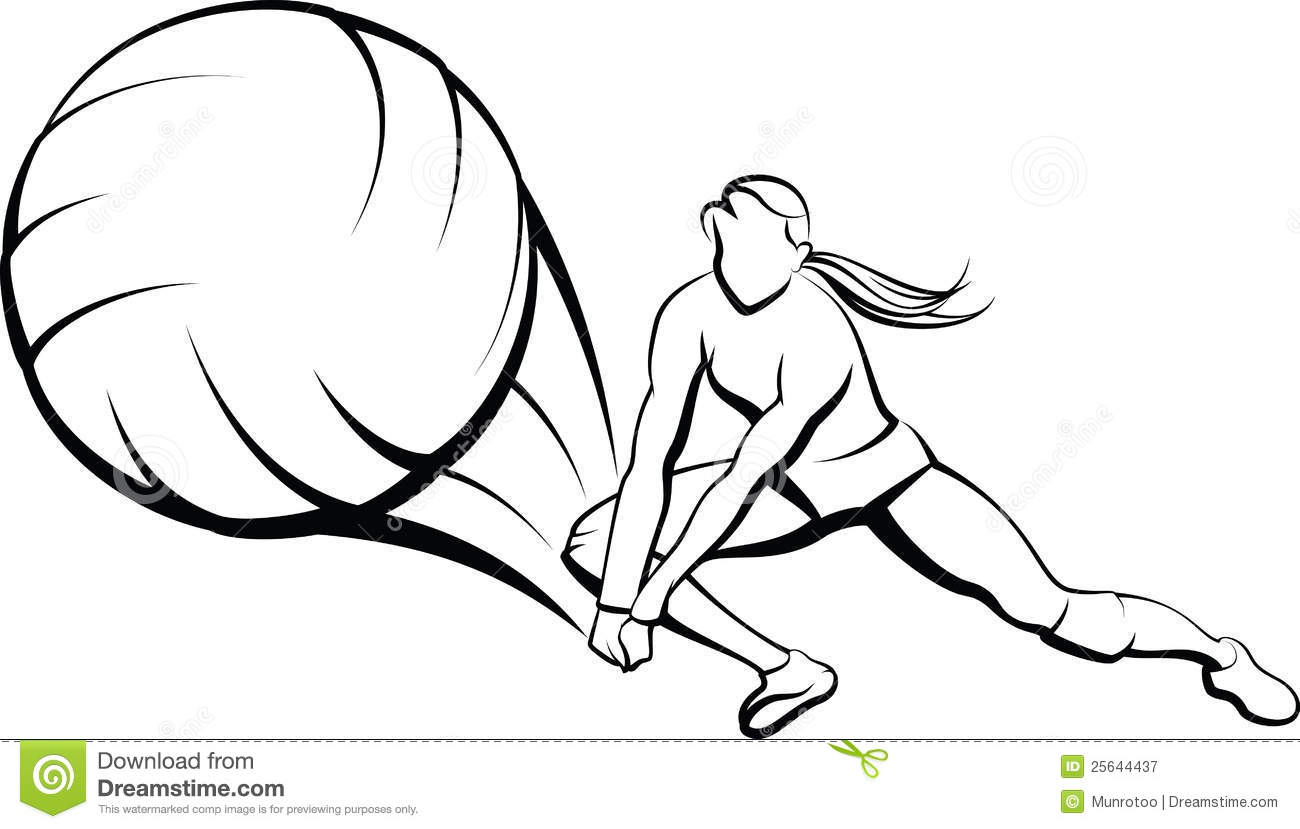 Girl Volleyball Dig Royalty Free Stock Photography