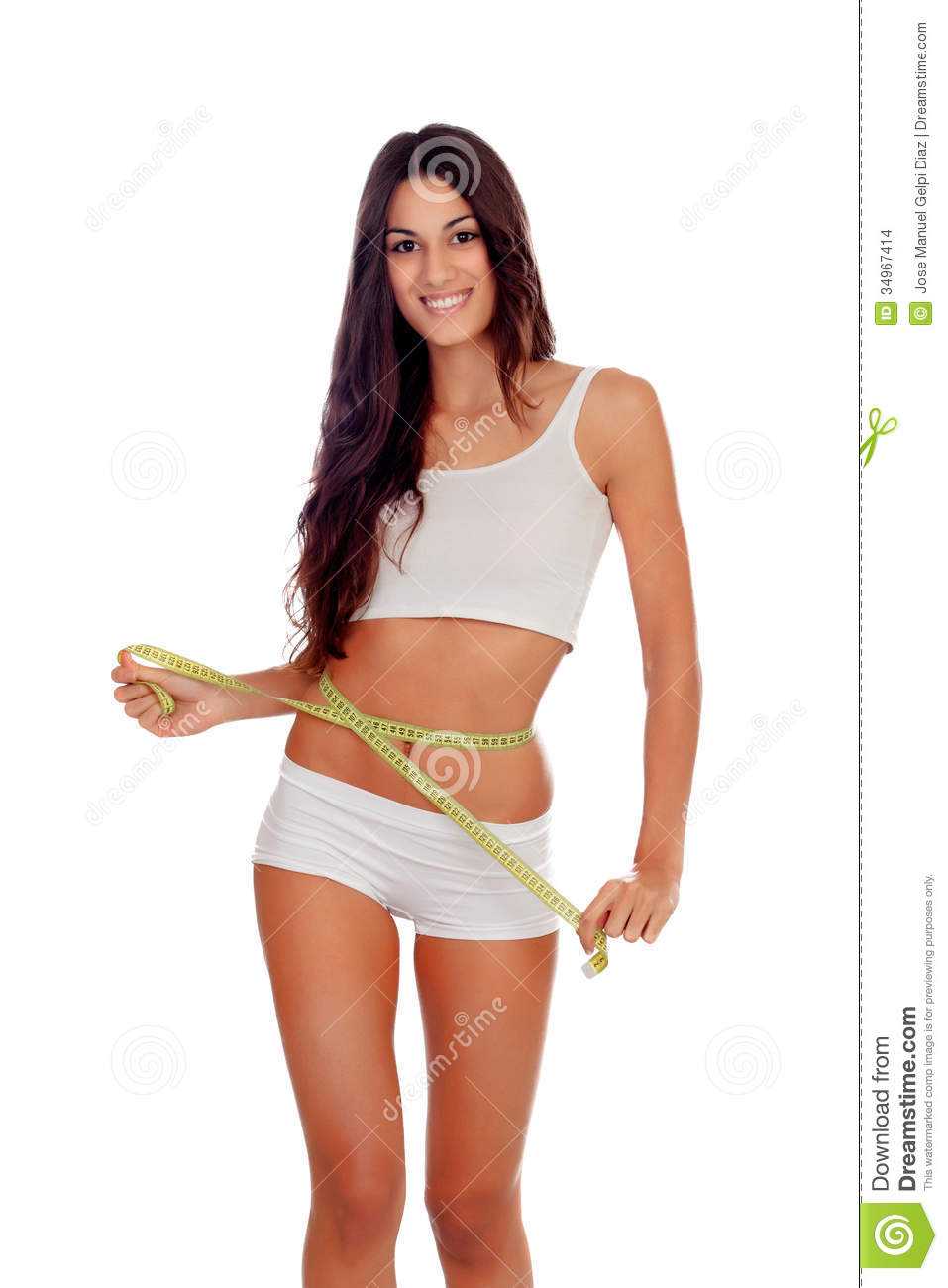 Girl In White Underwear With A Tape Measure Around Her