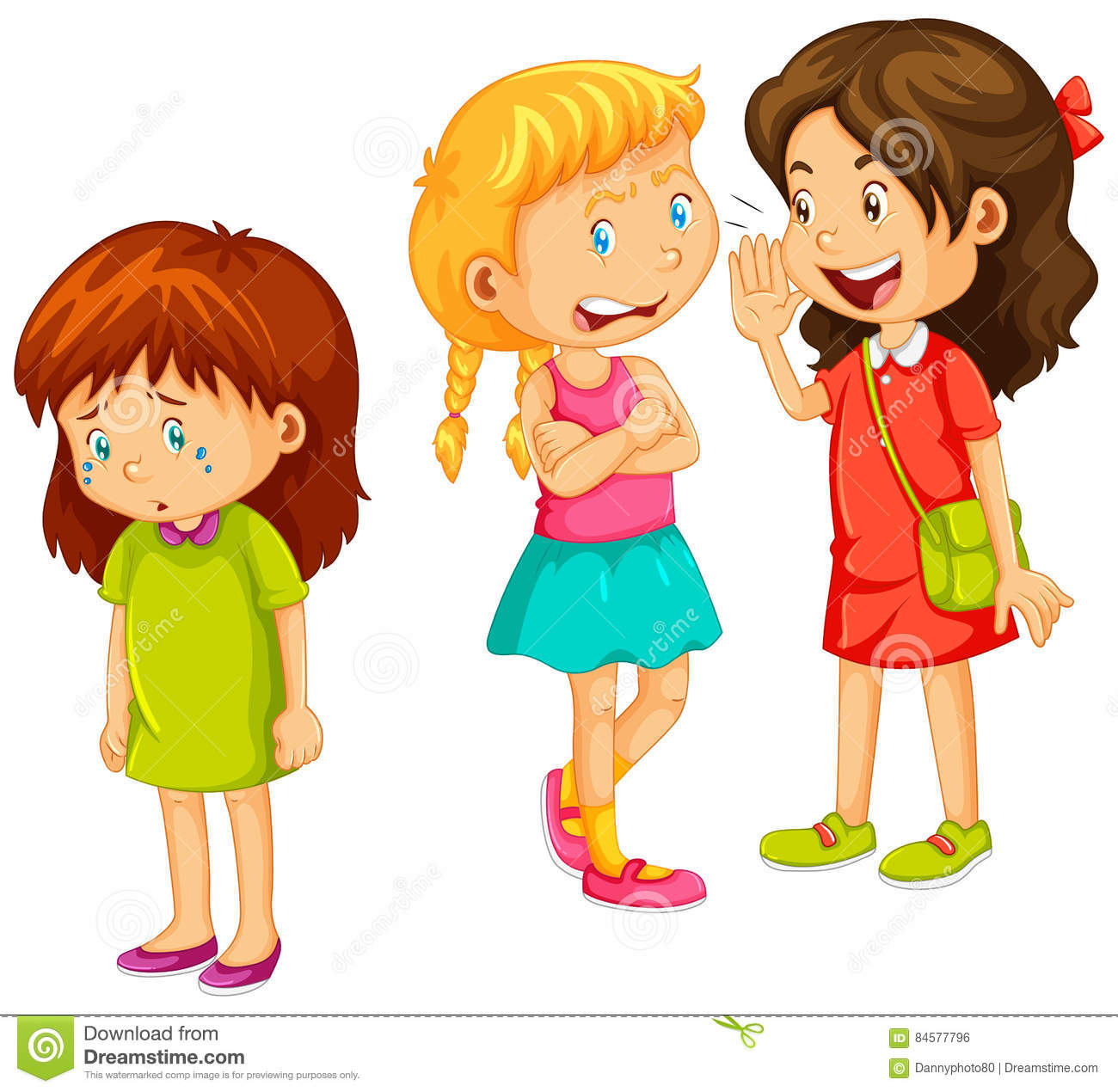 Girls Gossipping Other Friend Stock Illustration