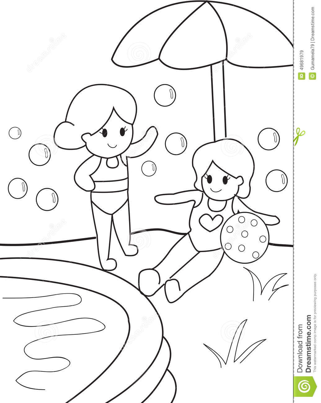 Girls By The Pool Kid Coloring Page Stock Illustration