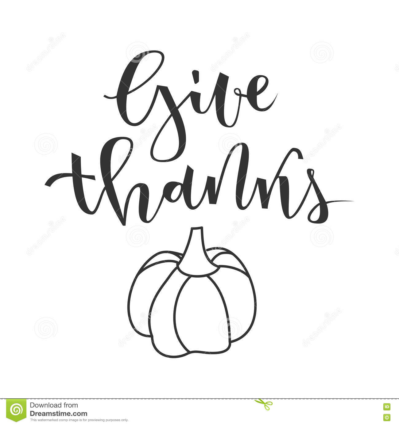 Give Thanks Greeting Stock Vector