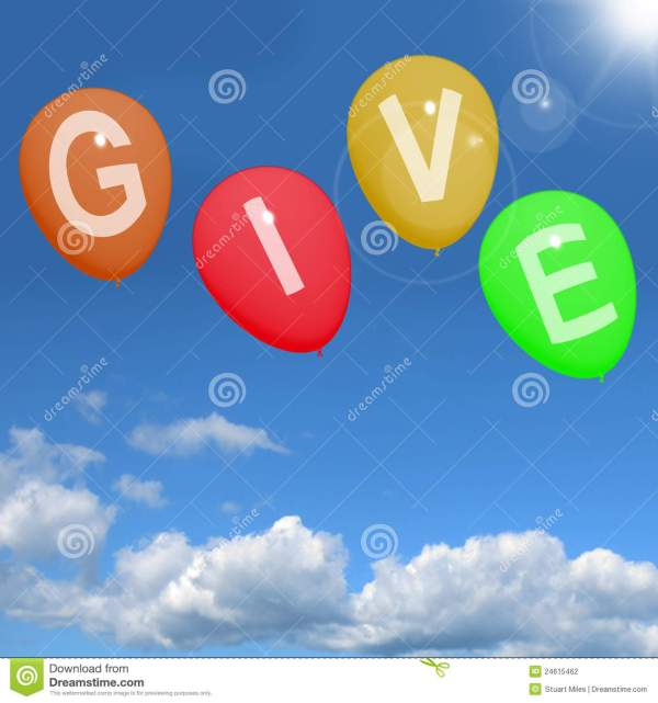 Give Word On Balloons Showing Charity Donations And ...