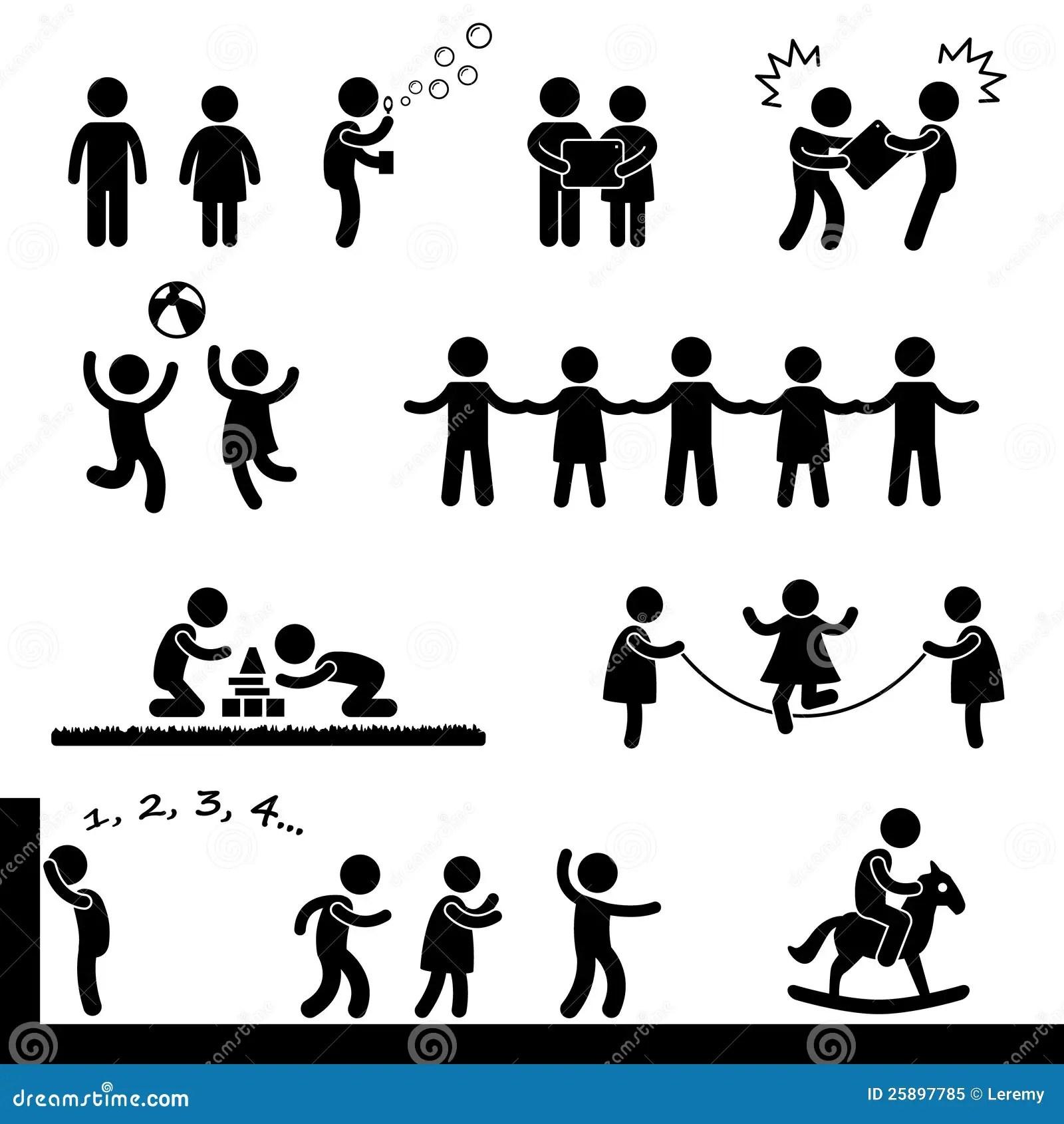 Gluckliche Kinder Piktogramm Spielen Vektor Abbildung