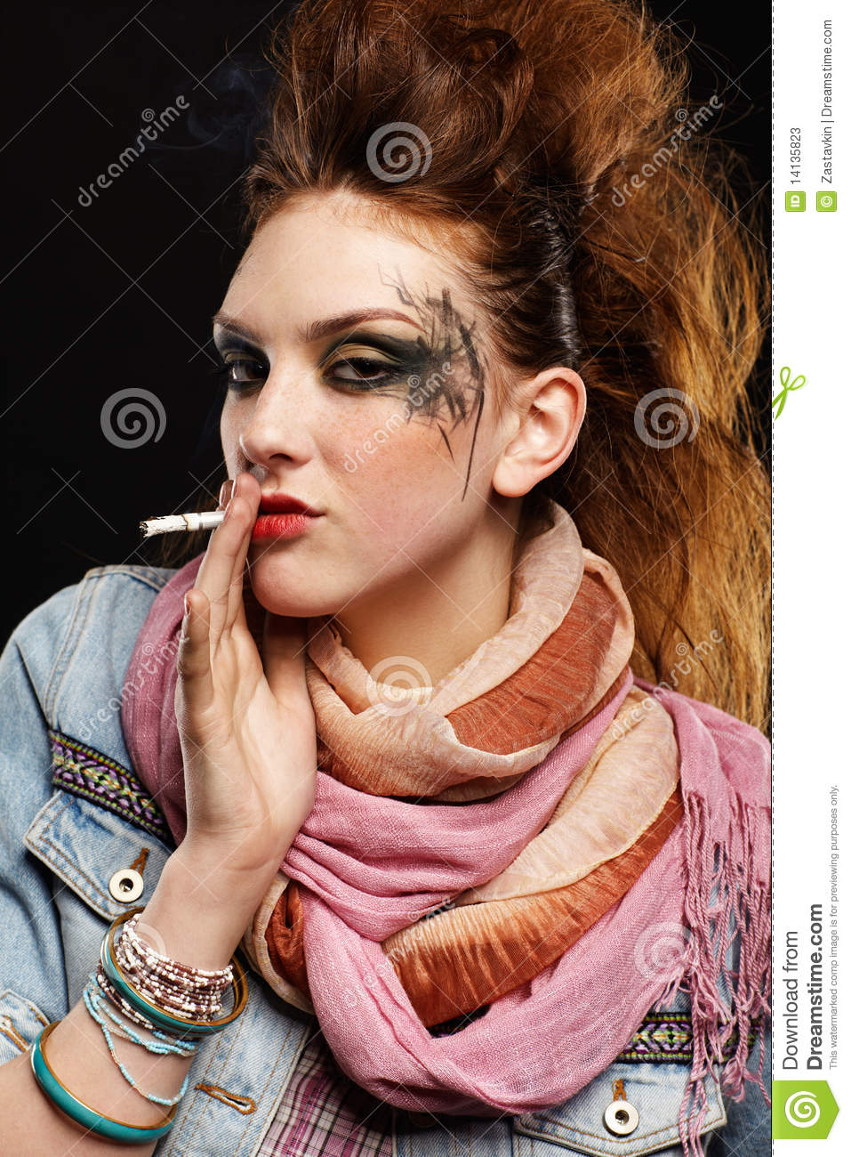Glam Punk Girl Smoking Stock Image Image Of Hand 80th