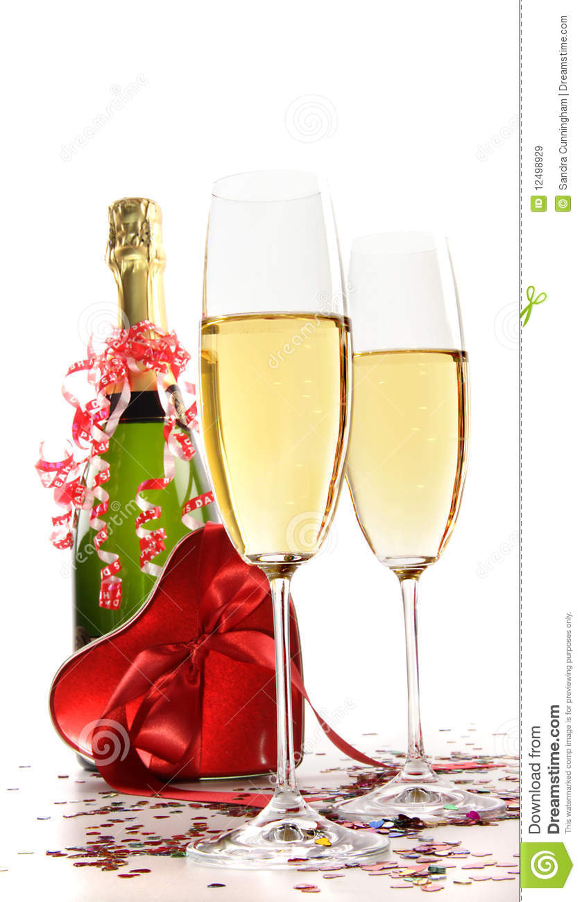 Glasses Of Champagne With Red Ribbon Heart Stock Image