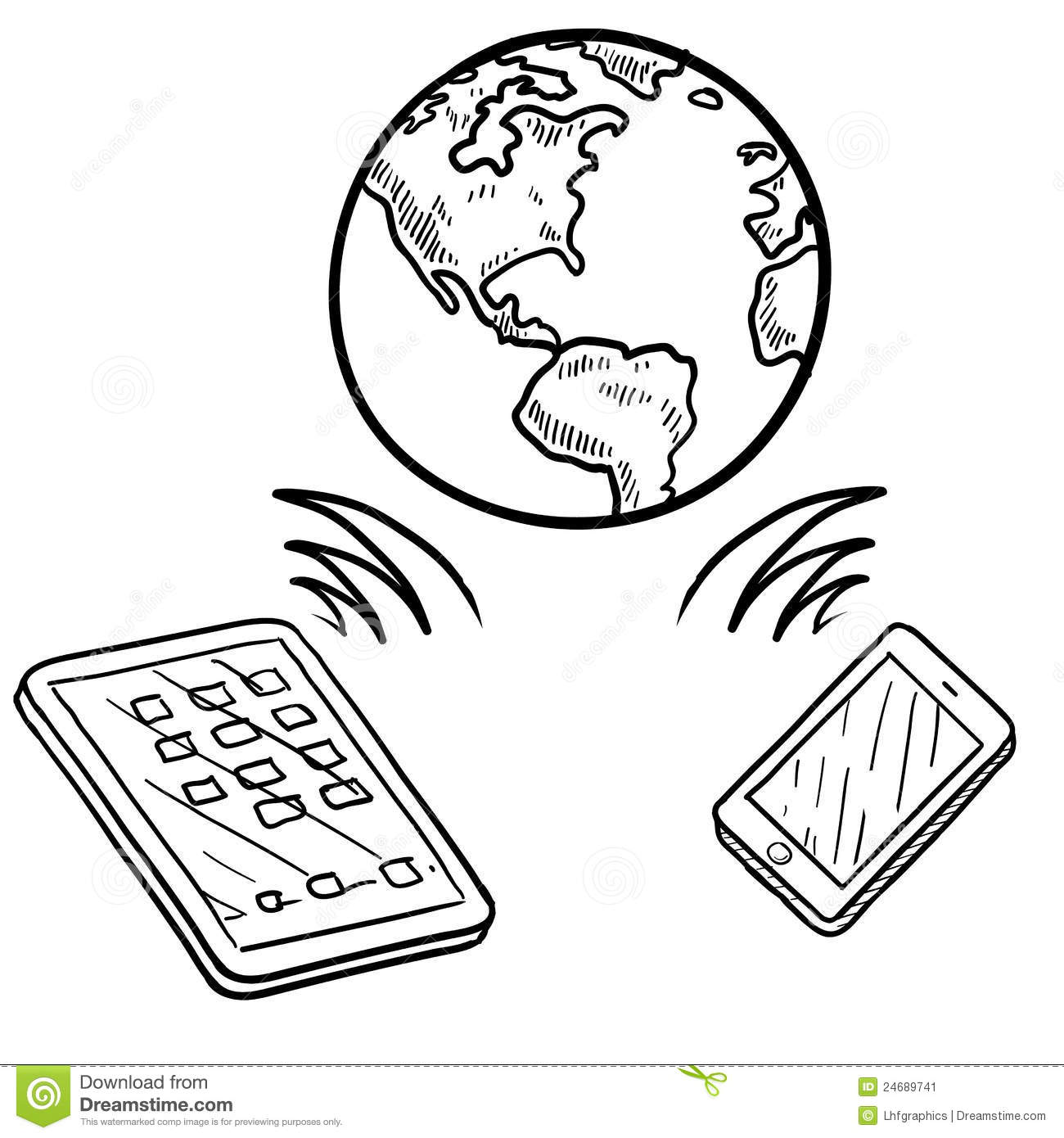 Global Communication Sketch Stock Vector Illustration Of