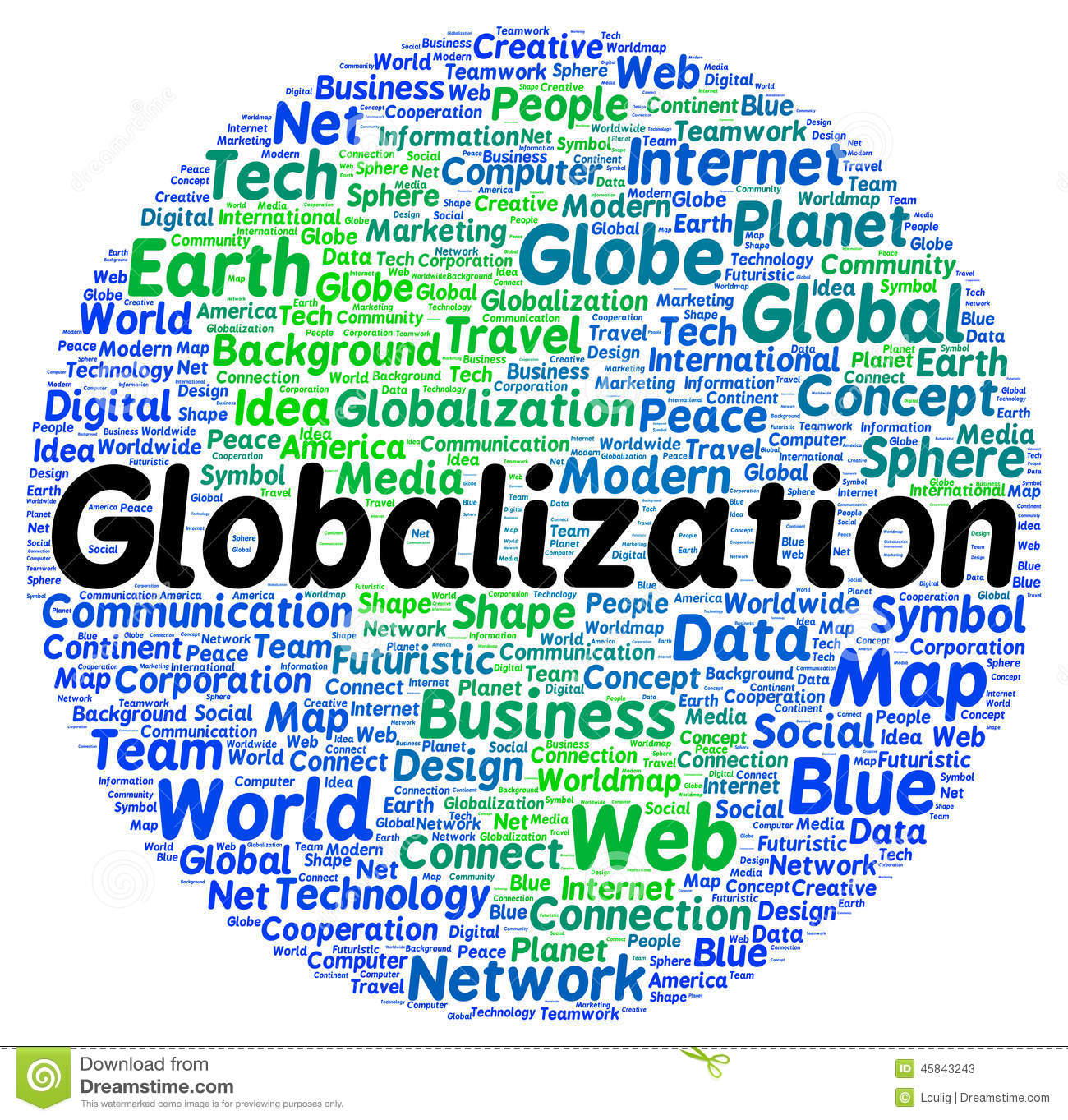 Globalization Word Cloud Shape Stock Illustration