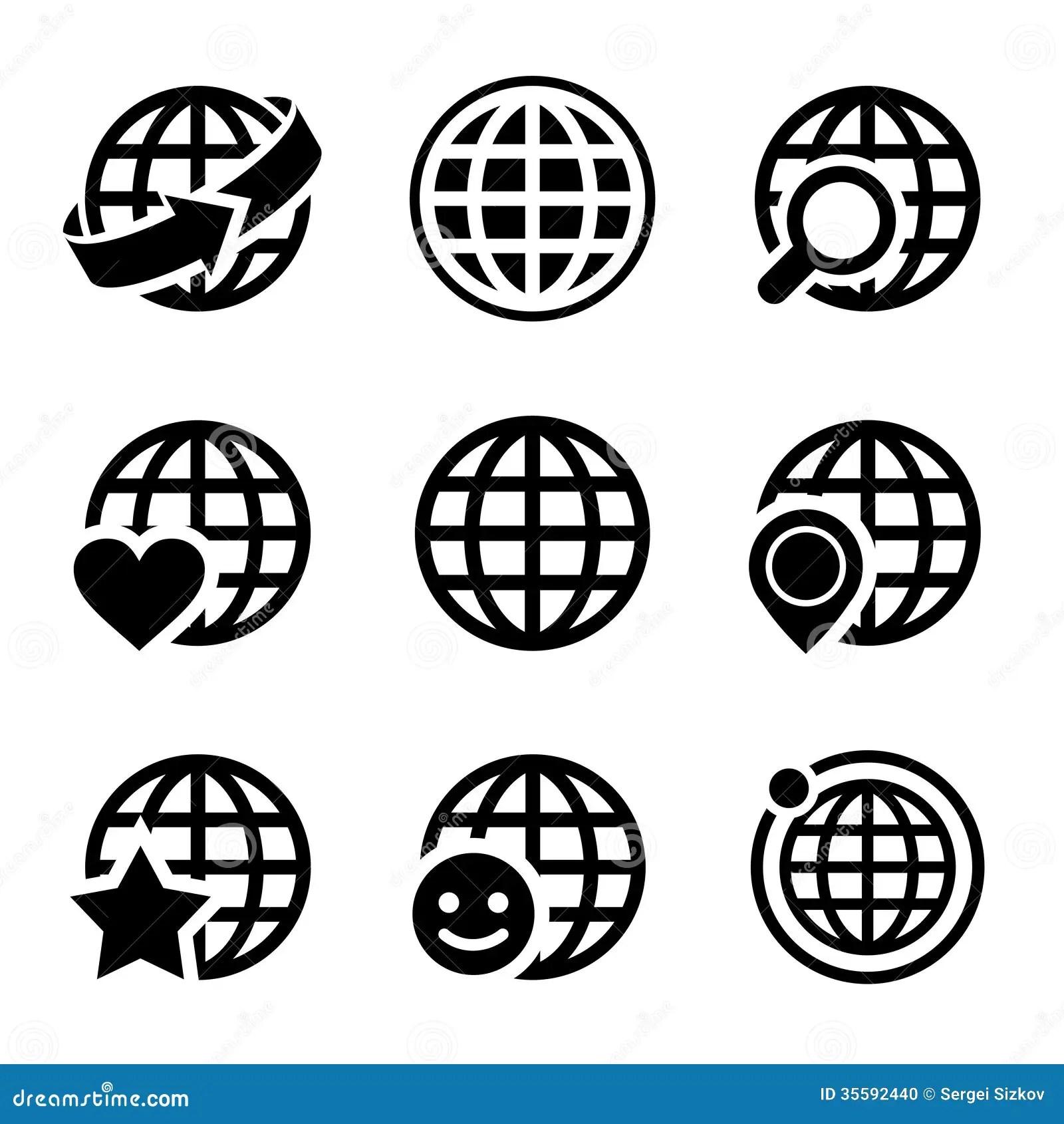 Globe Earth Vector Icons Set Stock Vector