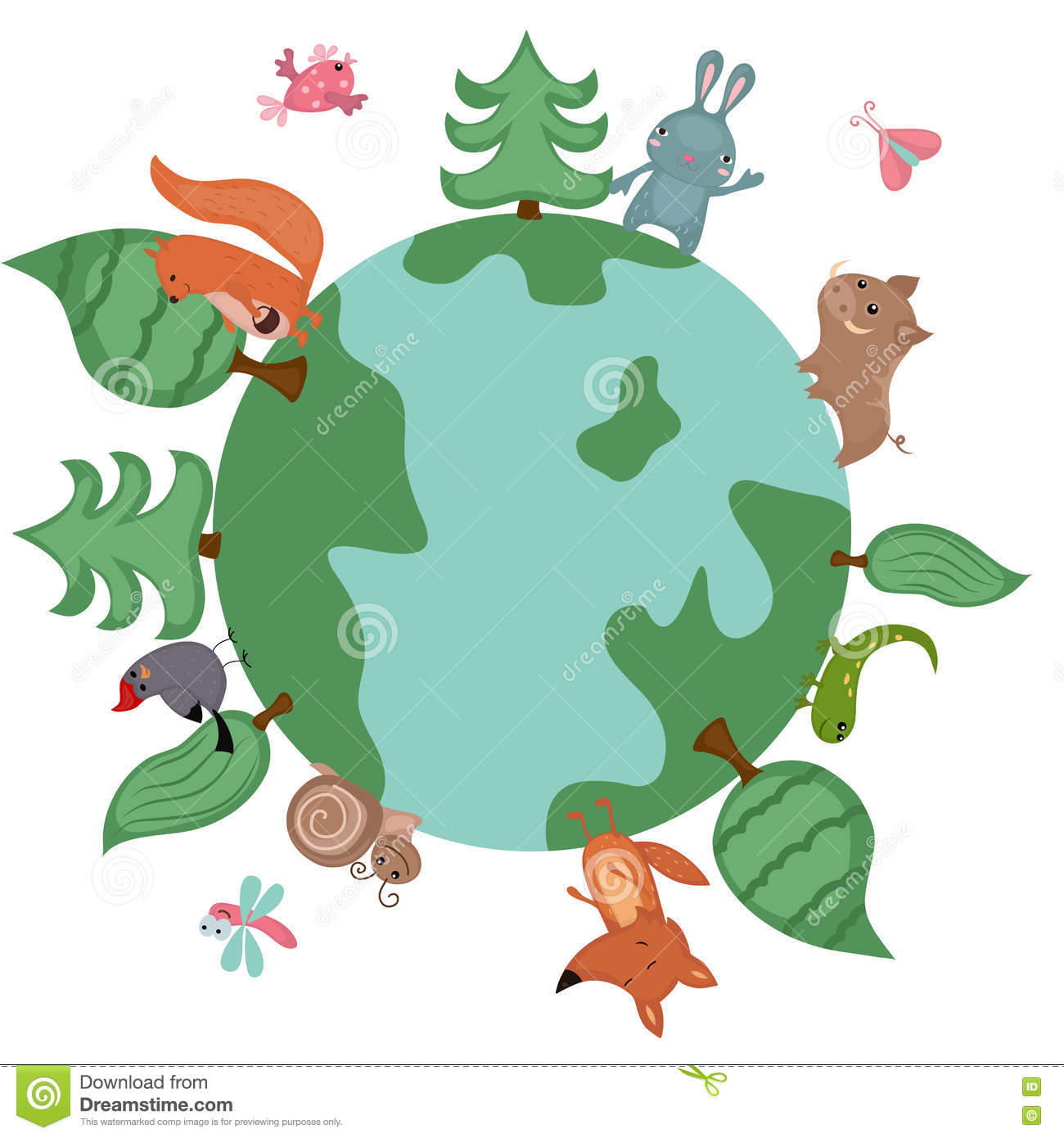 Globe With Wild Animals And Plants Stock Vector