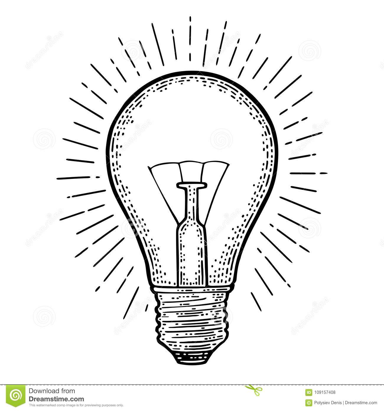 Glowing Light Incandescent Bulb With Ray Vector Vintage