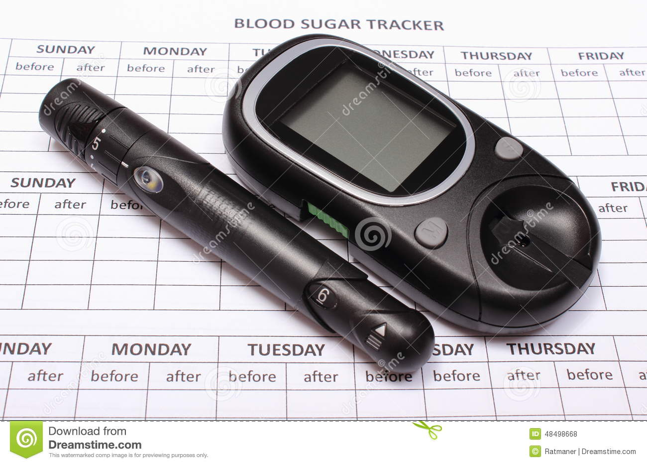 Glucometer And Lancet Device On Empty Medical Forms For Diabetes Stock Photo