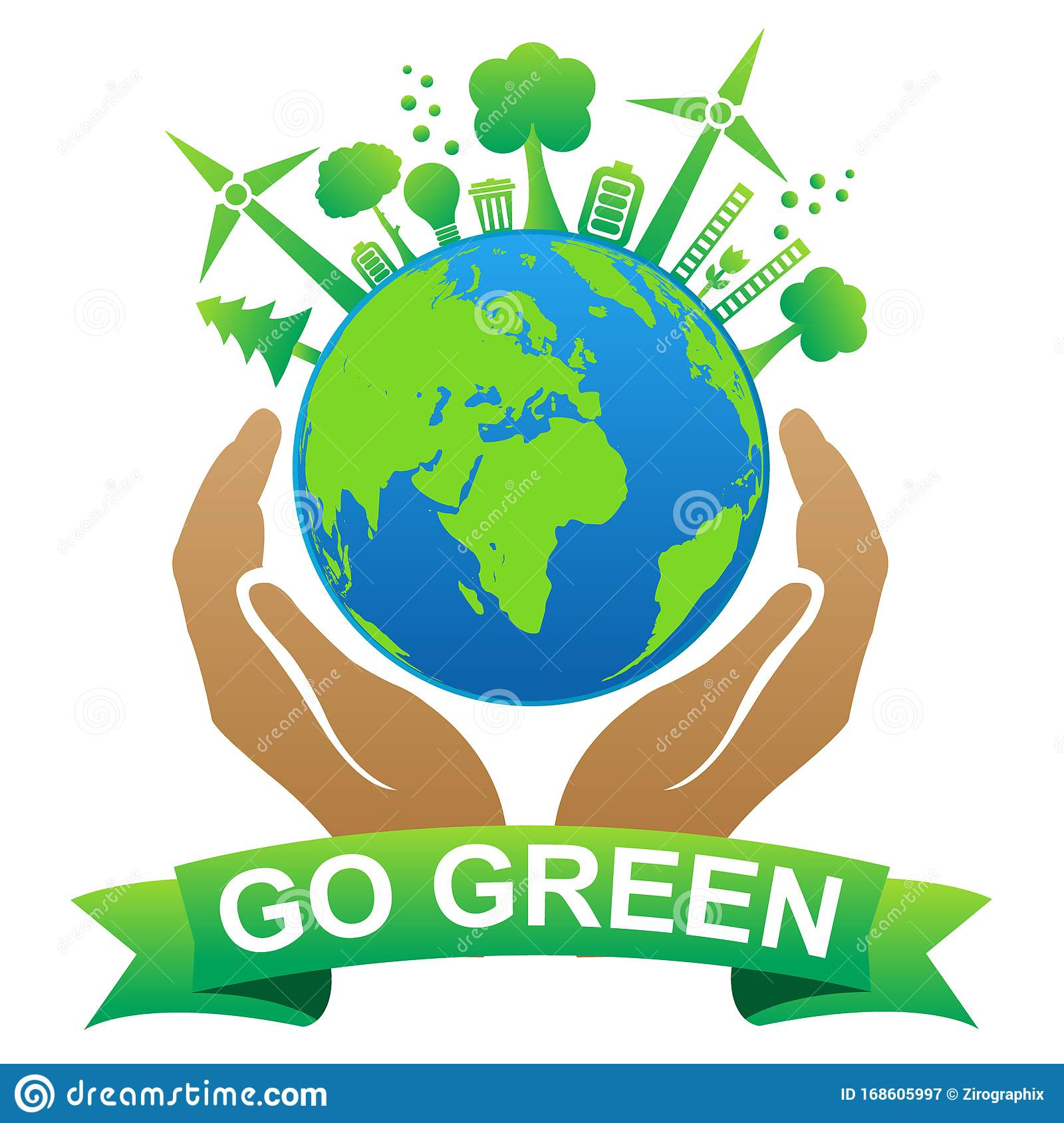 Go Green Save Earth Illustration Stock Vector Illustration Of World Background 168605997