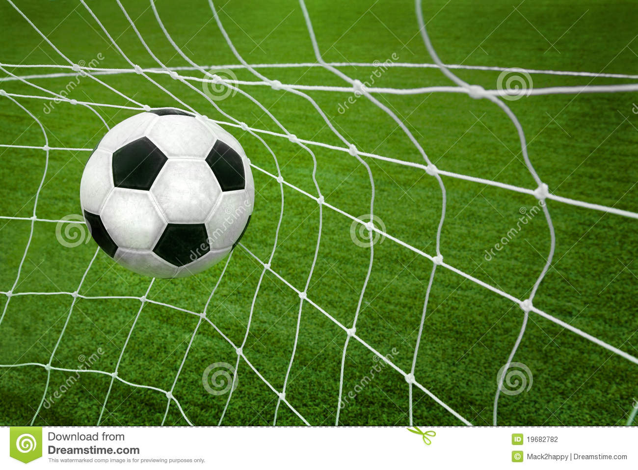Goal A Soccer Ball In A Net Stock Photography