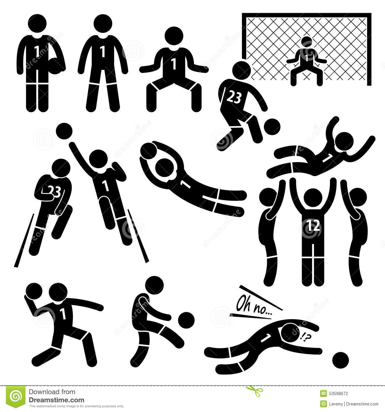 Goalkeeper Actions Football Soccer Cliparts Stock Vector
