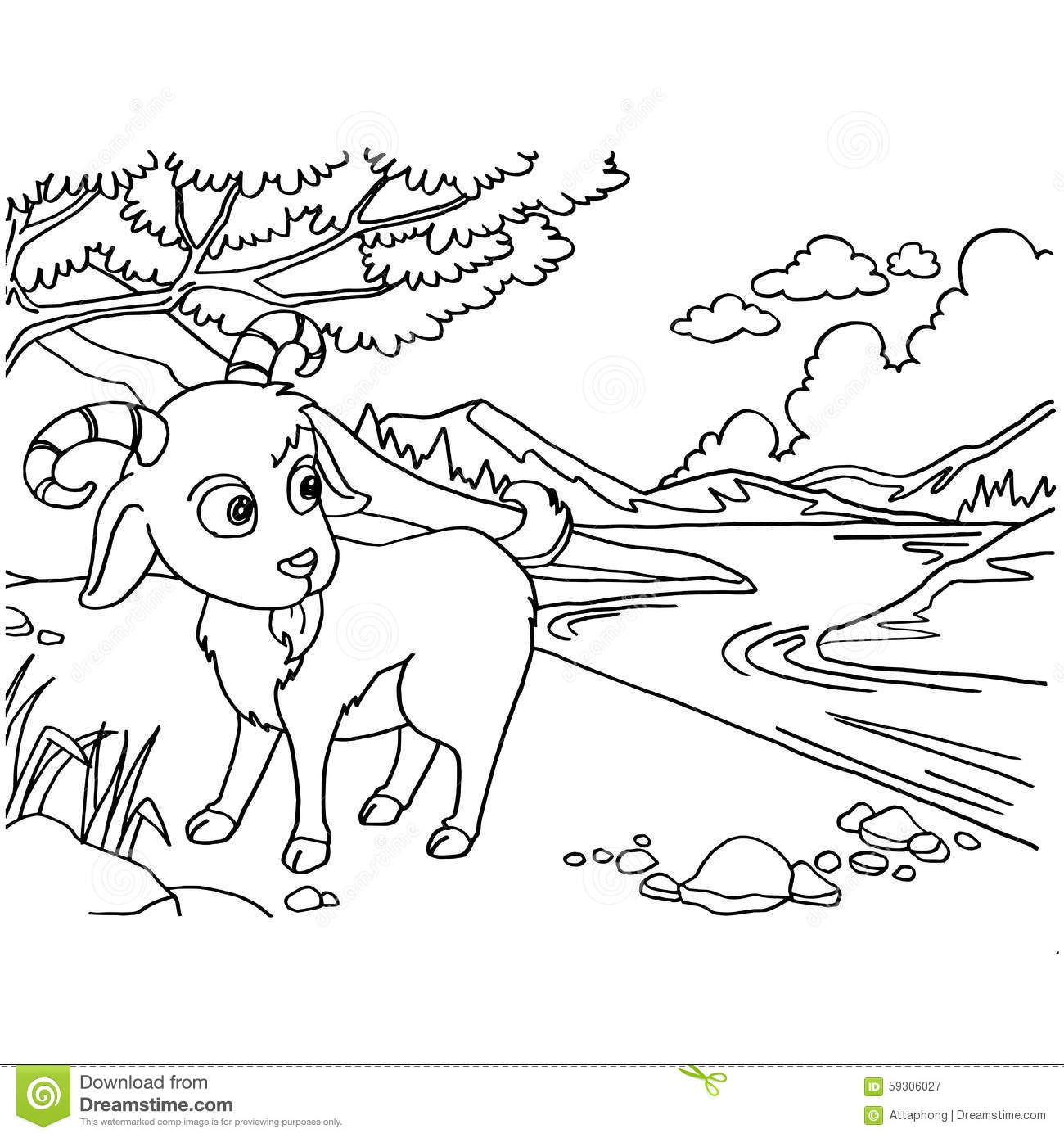 Goat Coloring Pages Vector Stock Vector Illustration Of Coloring