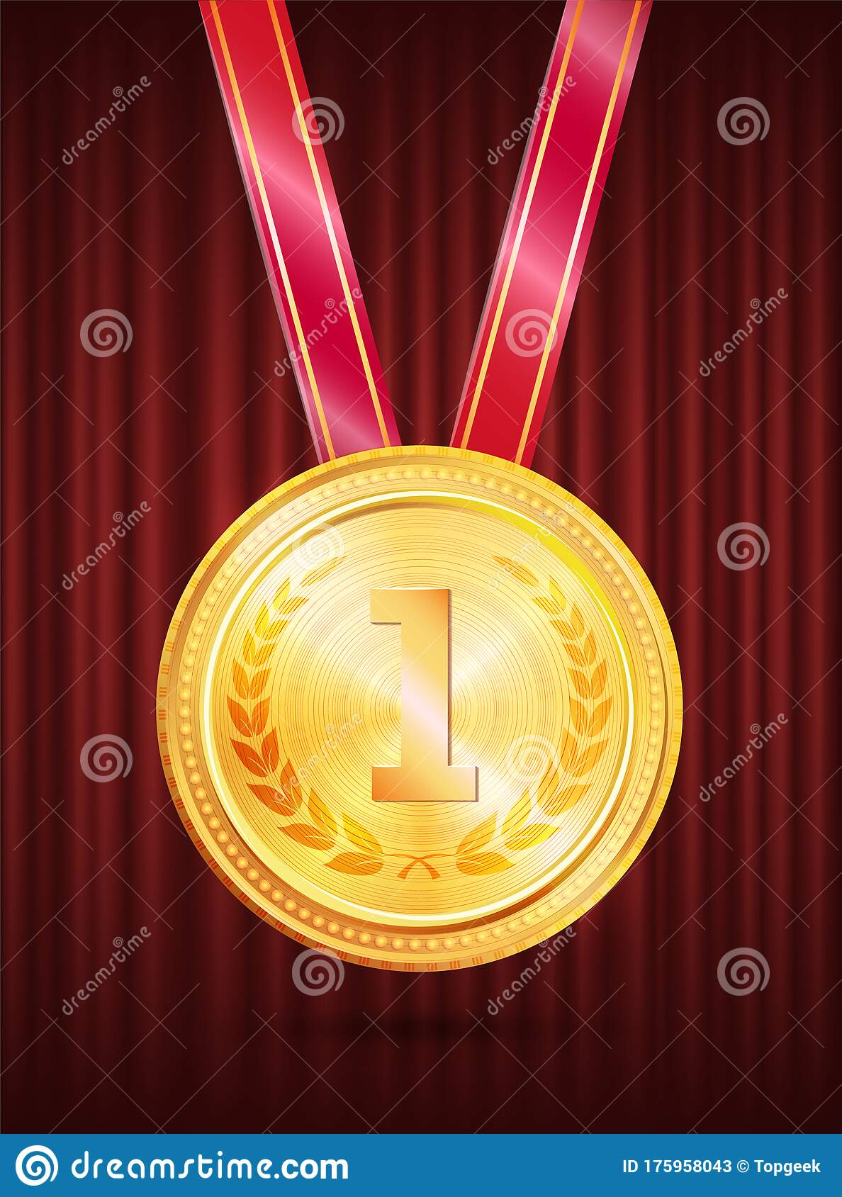 Gold Award First Place Medal With Ribbon Vector Stock