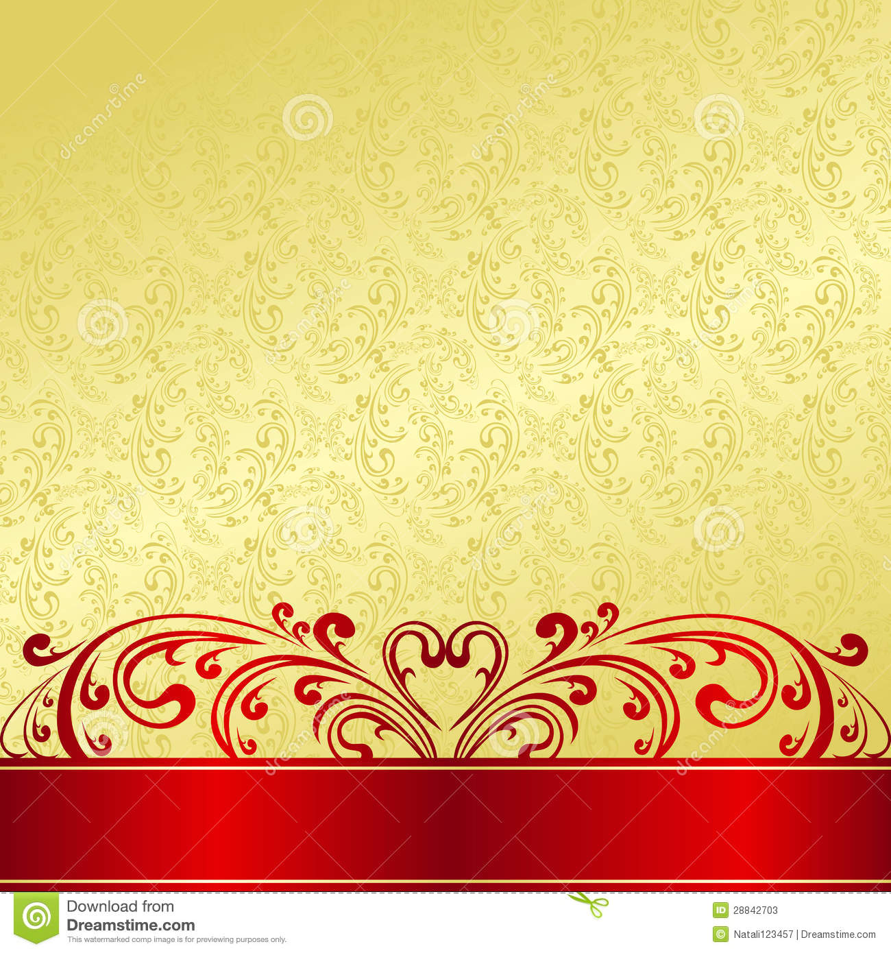 Gold Background Decorated A Vintage Ornament Stock Photos