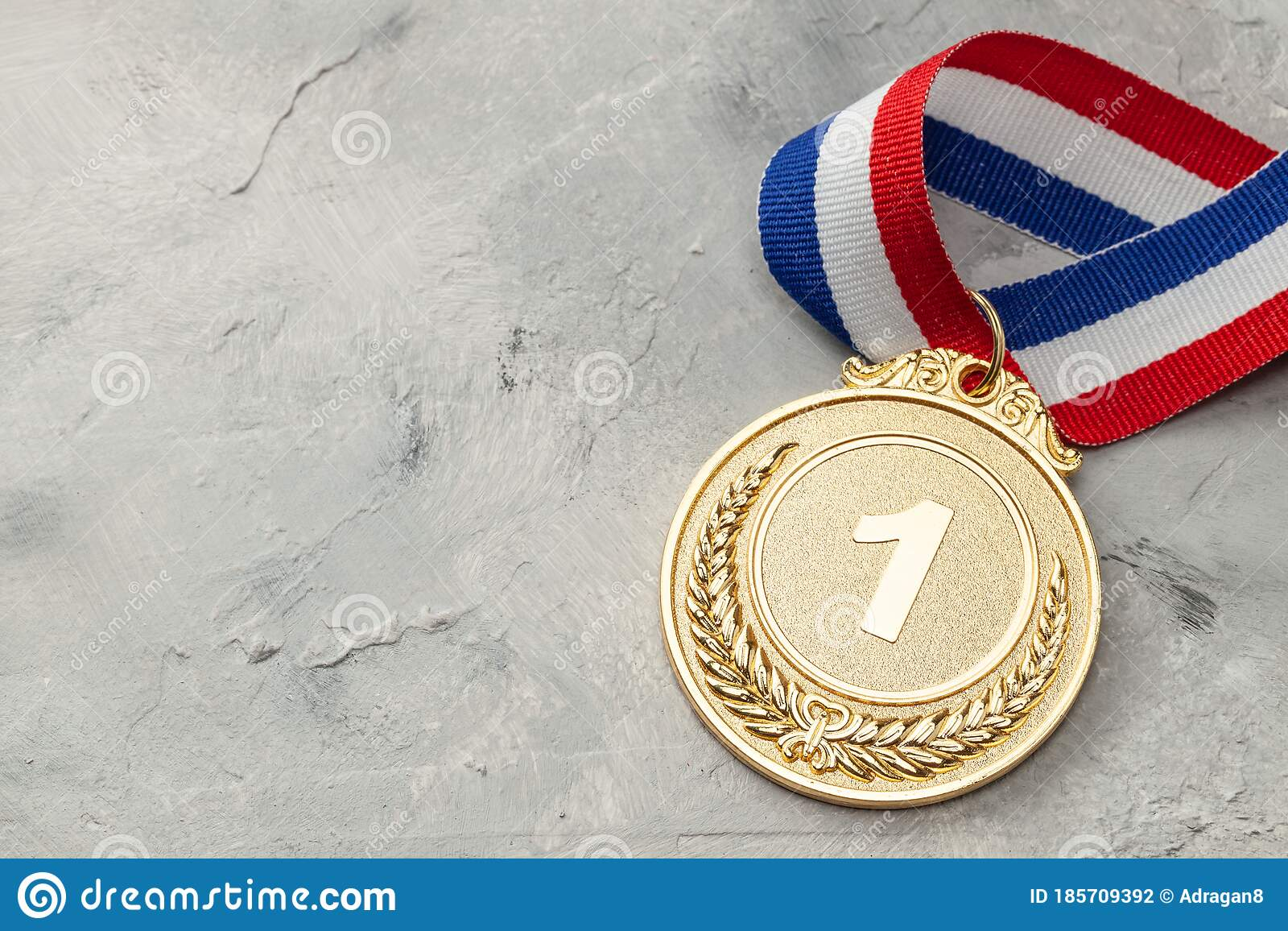 Gold Medal First Place Award With Ribbon Stock Photo