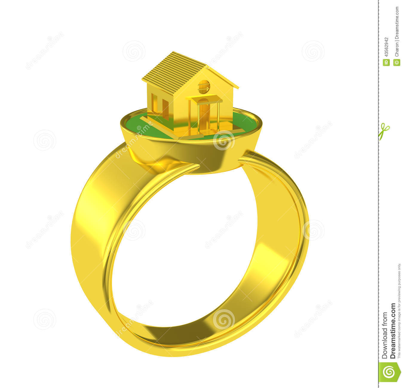 Gold Wedding Ring With A Small House Stock Illustration