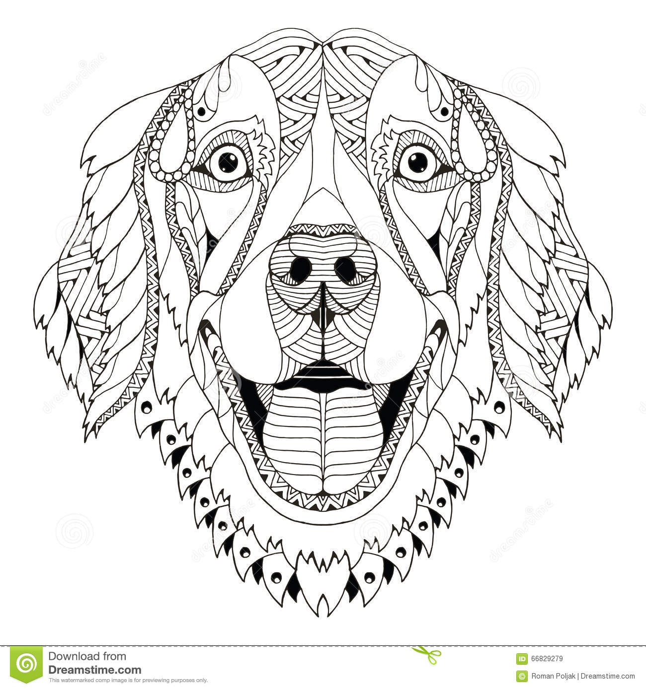Golden Retriever Dog Zentangle Stylized Head Freehand