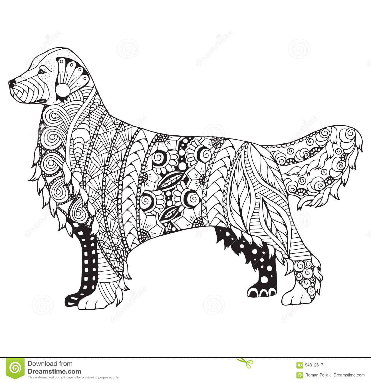 Golden Retriever Dog Zentangle Stylized Vector