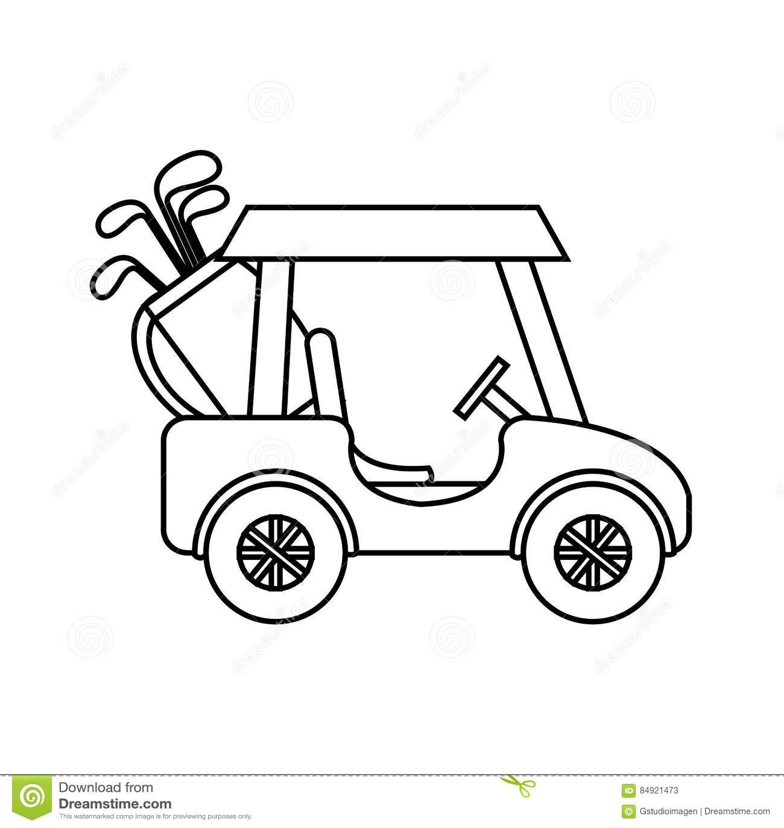 Golf Club Cart Icon Stock Illustration Illustration Of