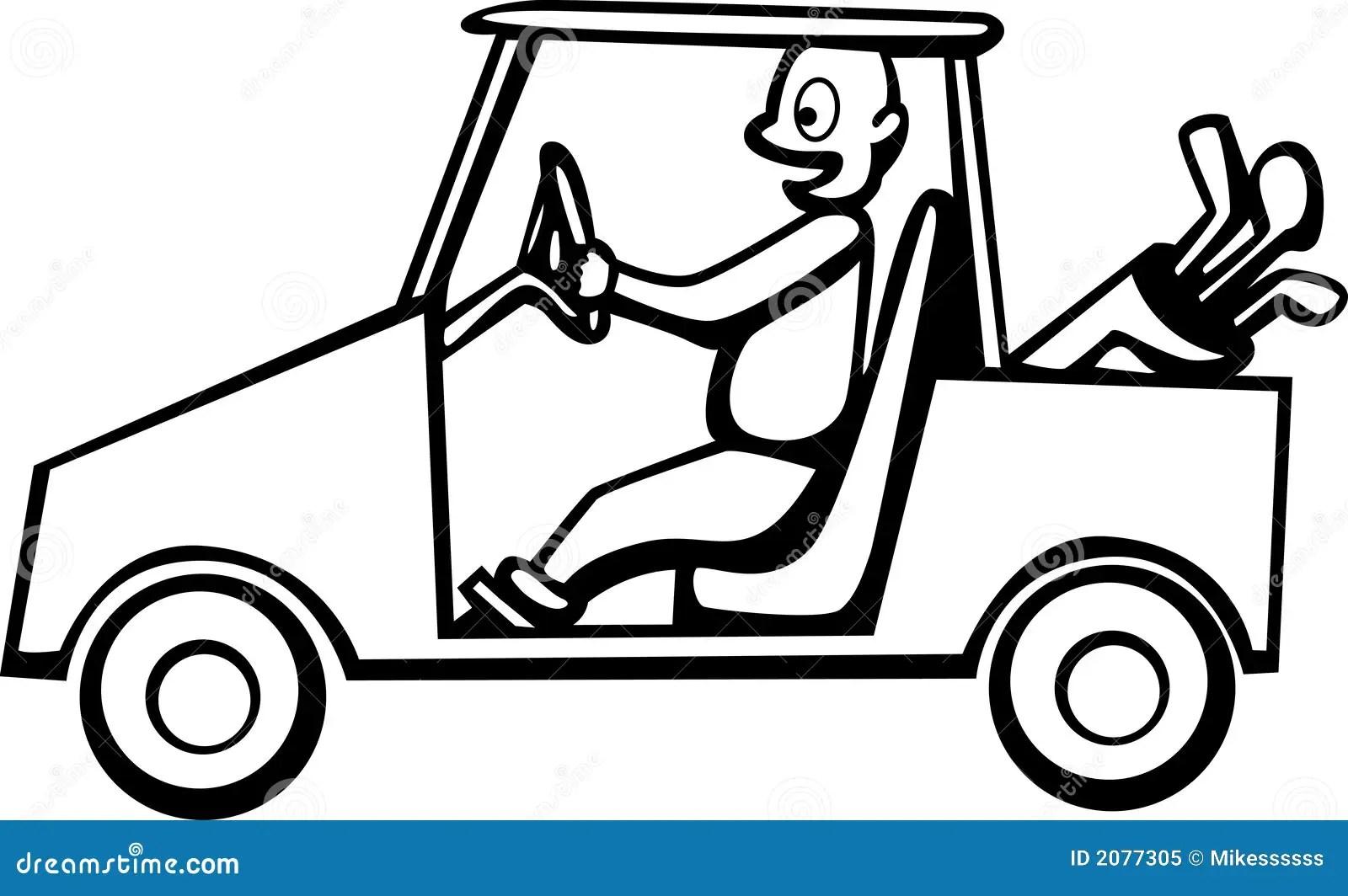 Golfer Driving A Golf Cart Vector Illustration Royalty