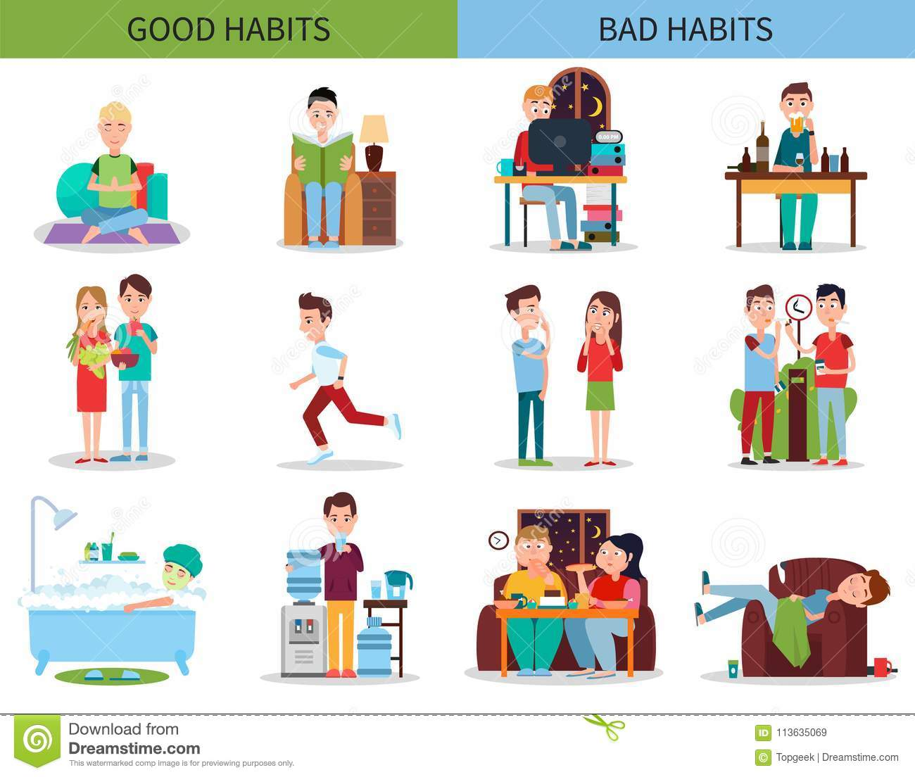 Good And Bad Habits Collection Vector Illustration Stock