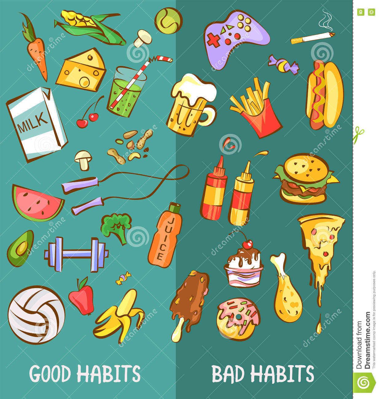Good And Bad Habits Healthy And Harmful Products Set