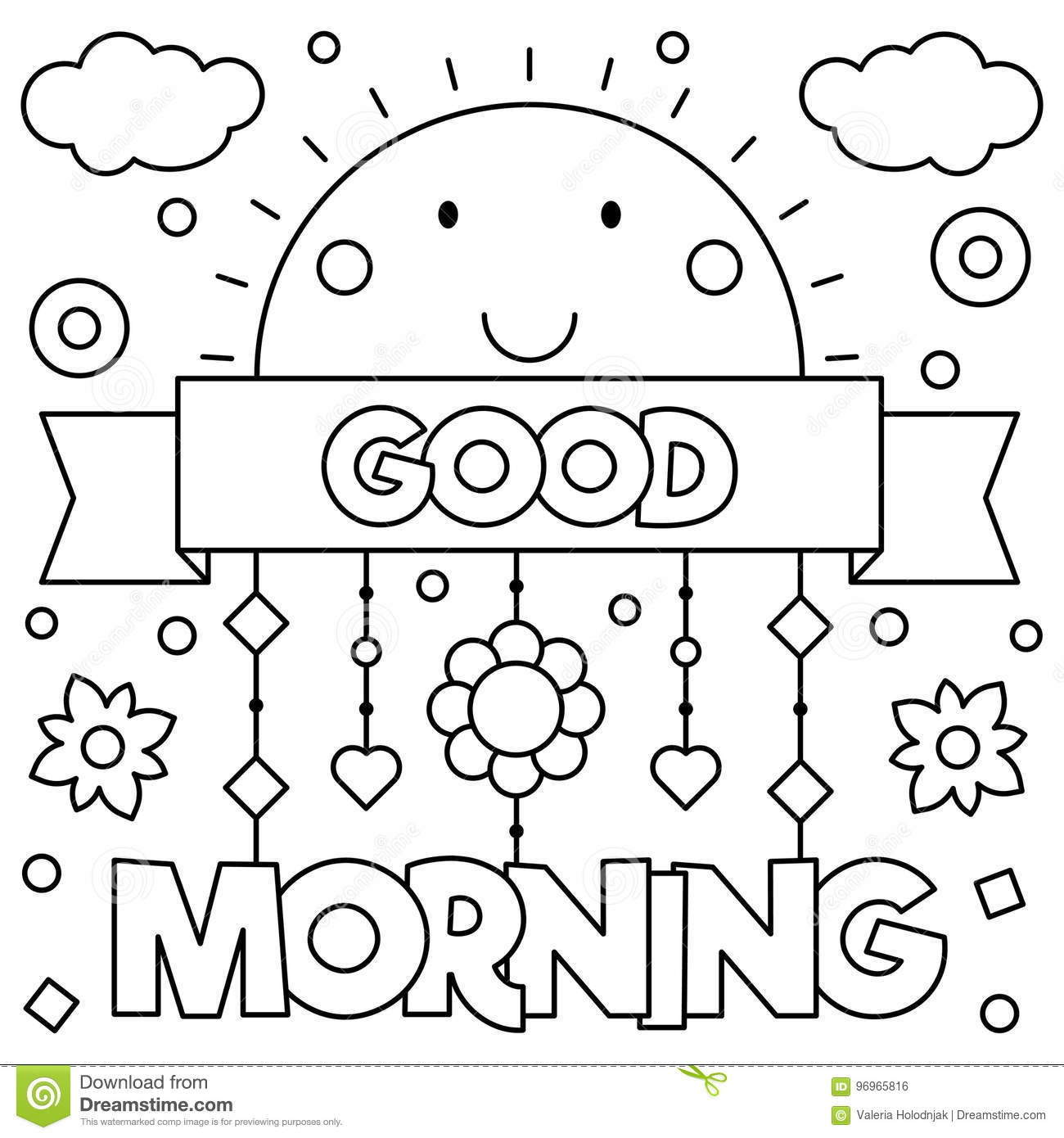 Good Morning Coloring Page Vector Illustration Stock