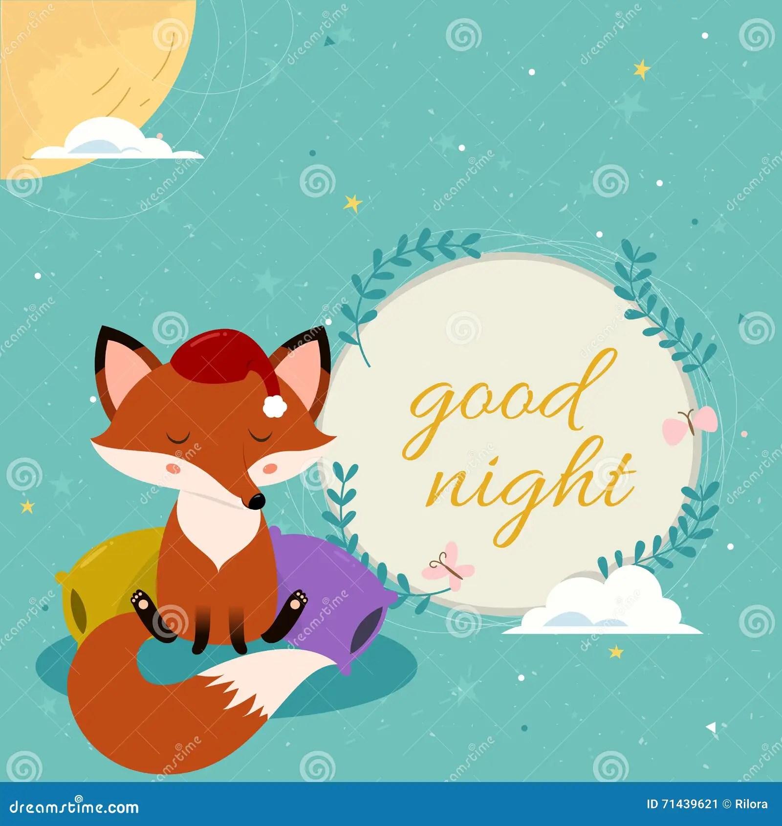 Good Night Card With Cute Cartoon Sleepy Fox On The