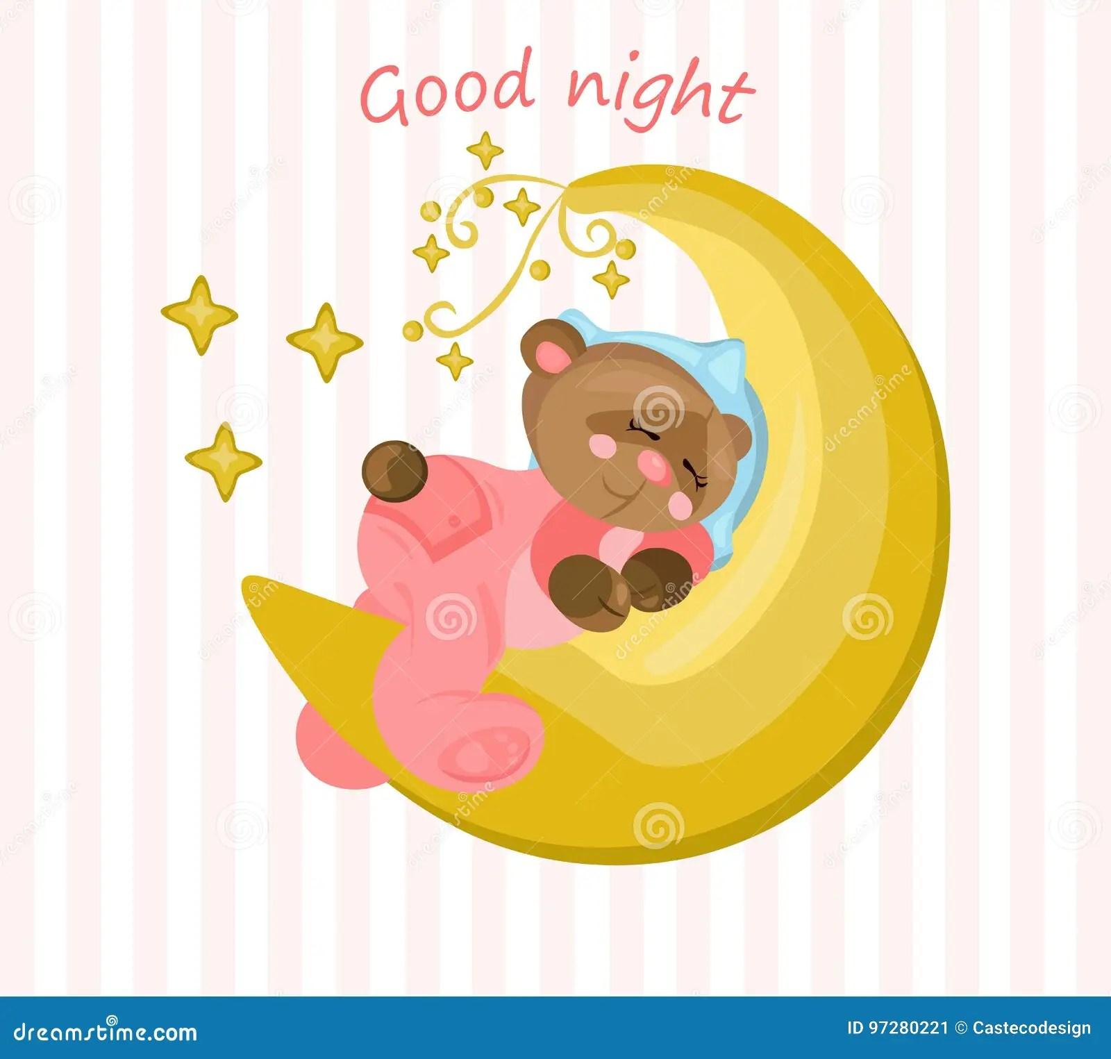 Good Night Card With Teddy Bear Sleeping On The Moon