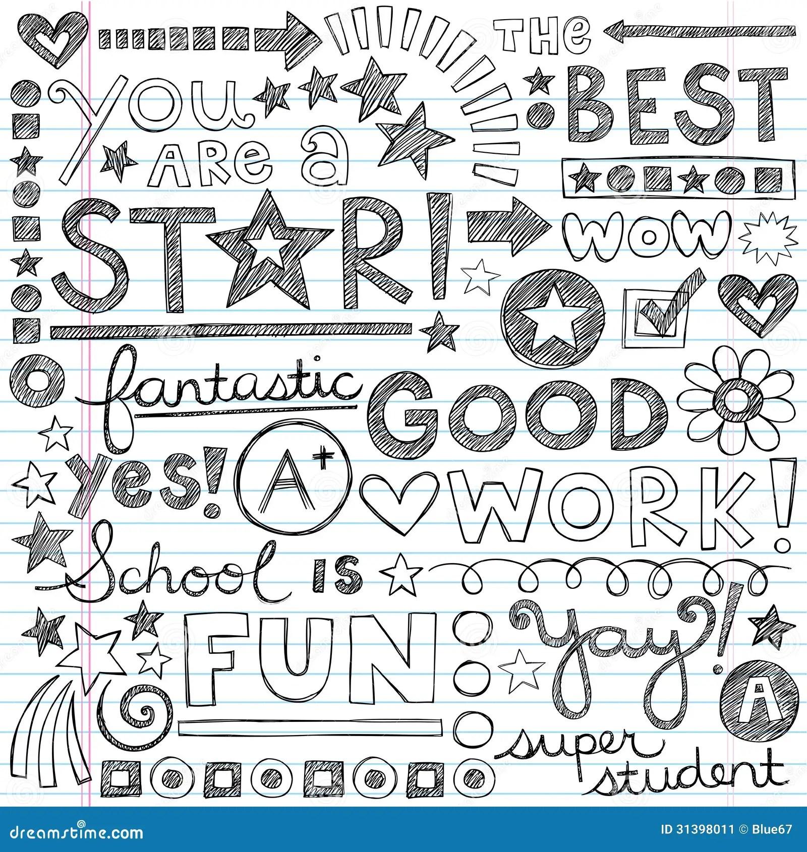 Good Work Praise Phrases Sketchy Doodle Encouragem Stock