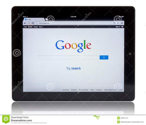 Google on iPad 3 editorial stock image Image of