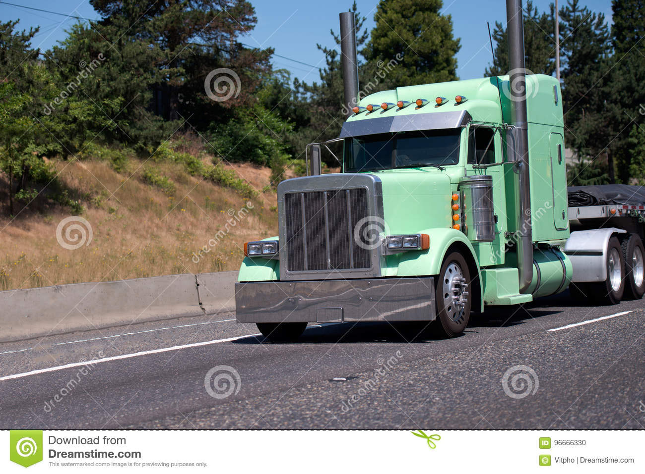 https www dreamstime com stock photo gorgeous custom build big rig semi truck painted light mint g professional popular green chrome accents tall exhaust image96666330