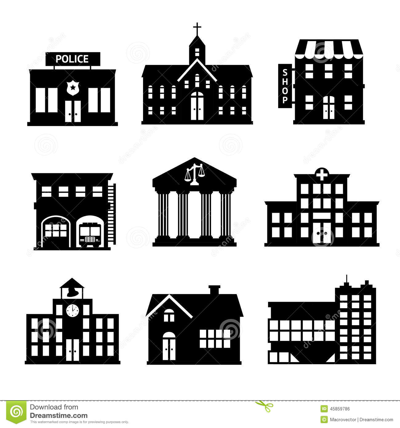 Government Buildings Black And White Icons Stock Vector