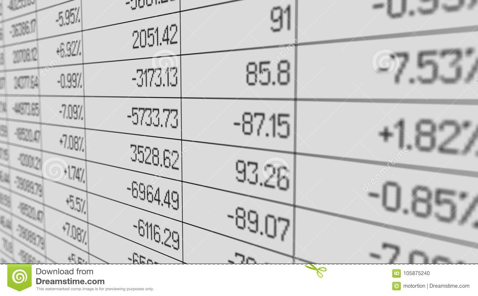Government Debt Shown In Financial Statistics Spreadsheet