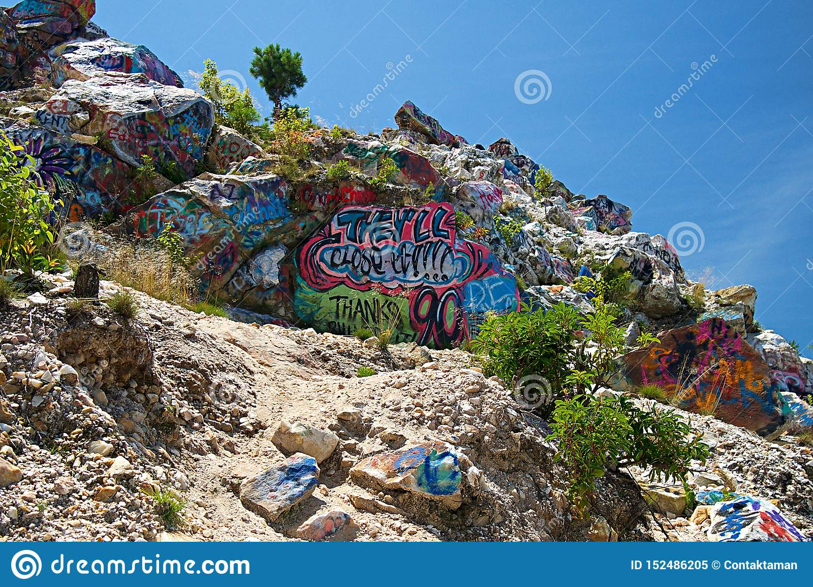 Graffiti On The Bell Mountain Range In United States Of