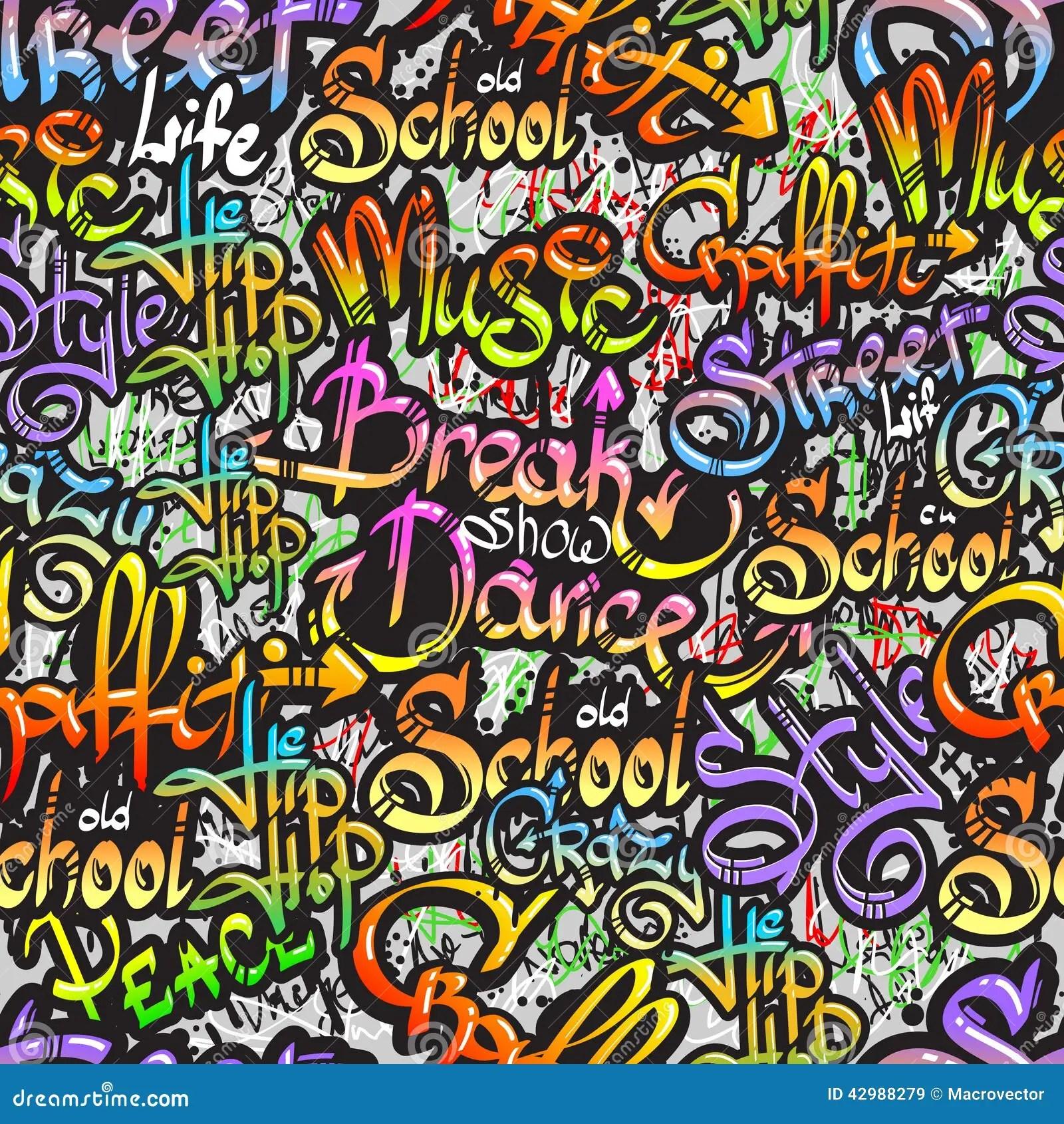 Graffiti Word Seamless Pattern Stock Vector