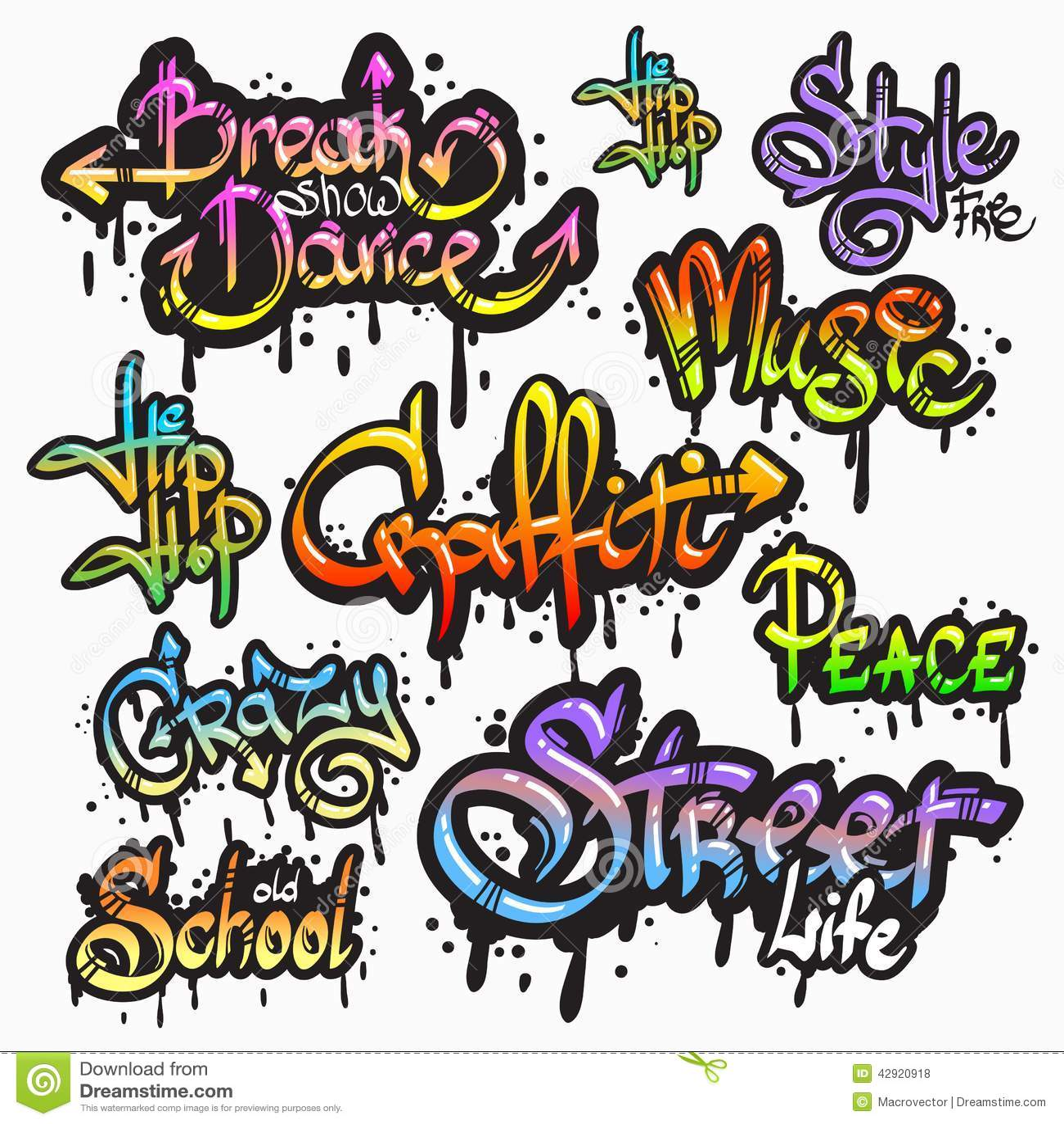 Graffiti Word Set Stock Vector Image Of Digital Culture