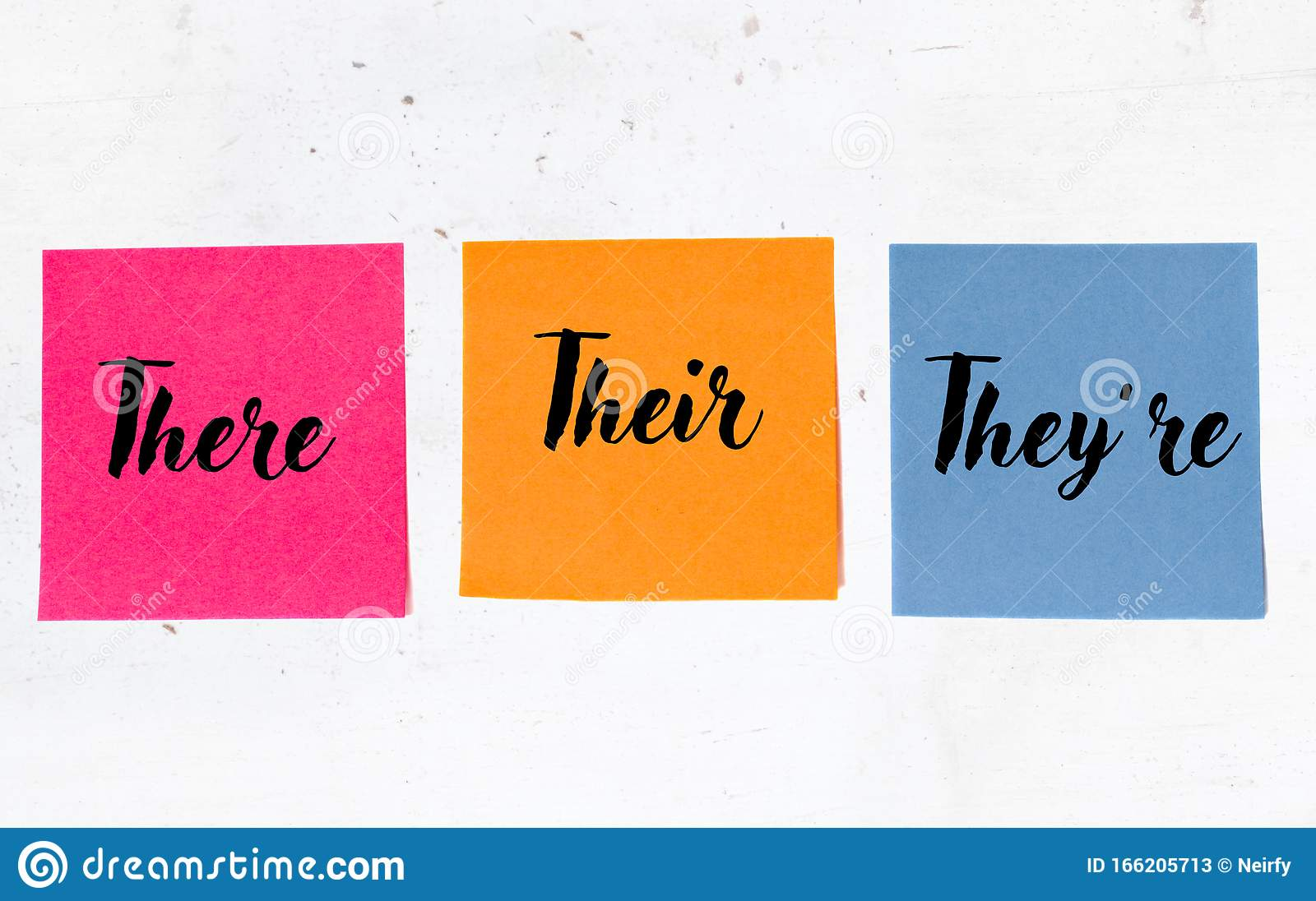Grammar Of There Their They Re On Three Sticky Notes