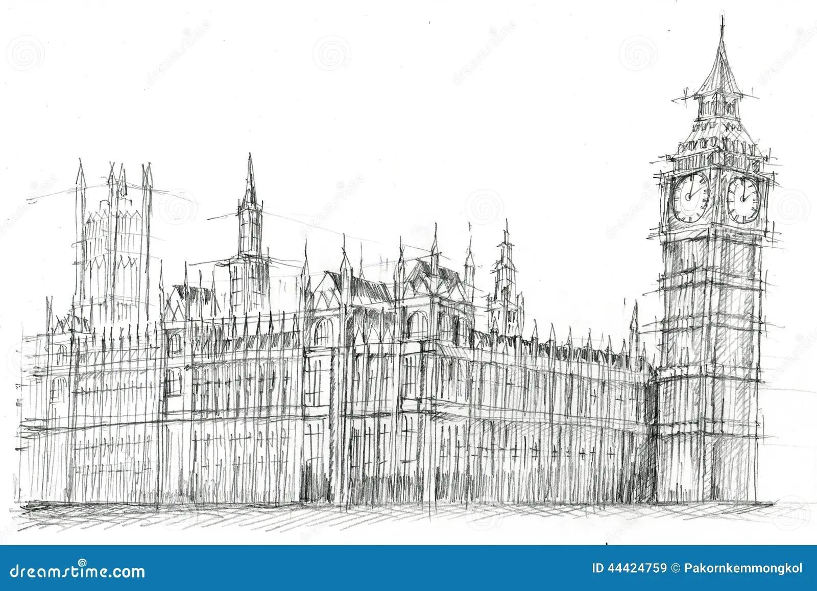 Grand Ben London Pencil Drawing Illustration Stock