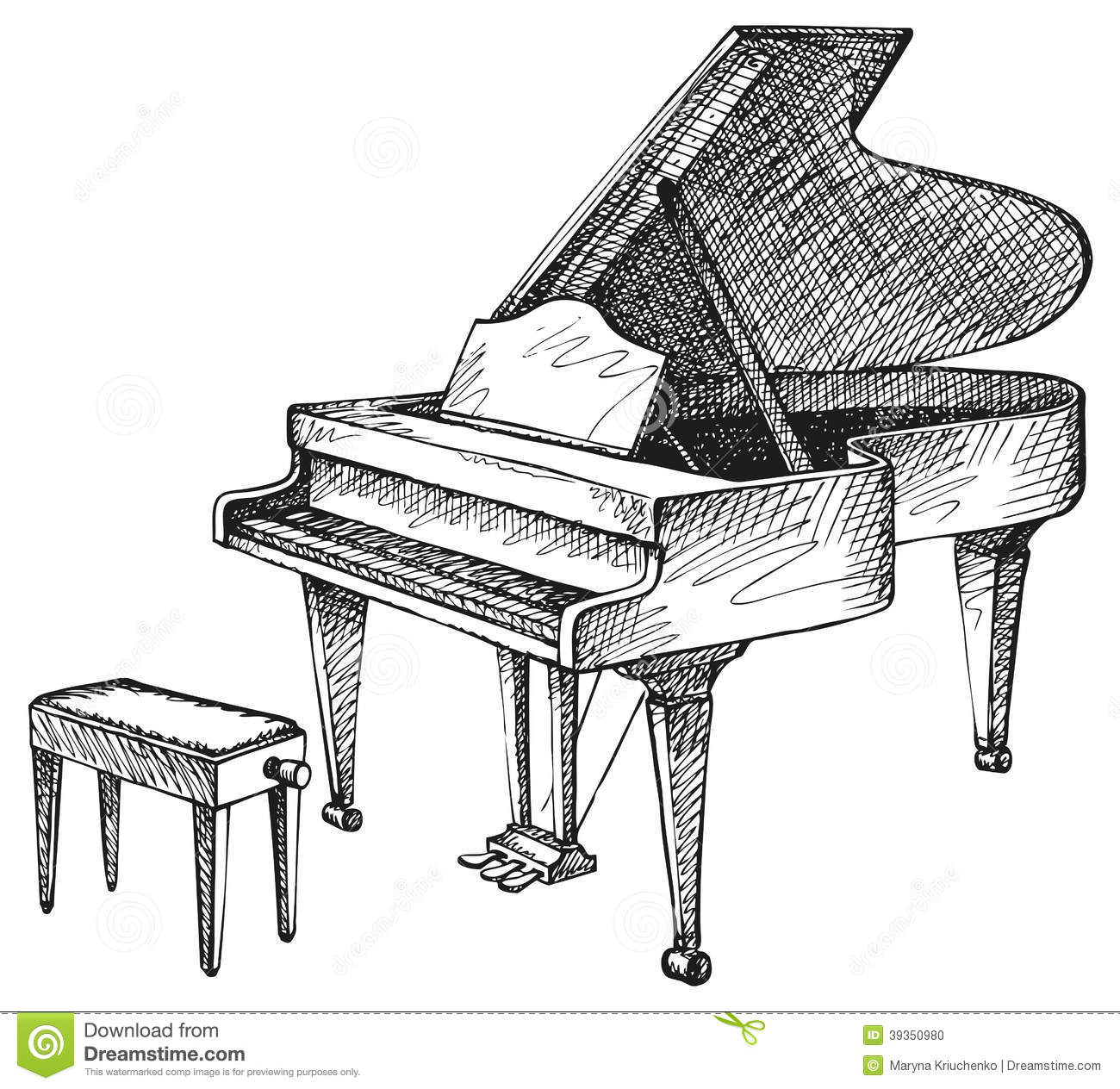 Grand Piano And Stool For Musician Stock Vector