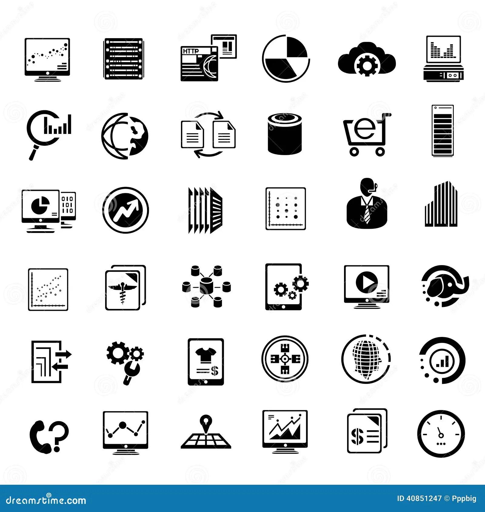 Grandi Icone Diisi Dei Dati Di Dati E Di Dati