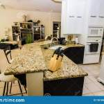 Granite Counter Bar In Modern Kitchen Stock Image Image Of Oven Island 156166001