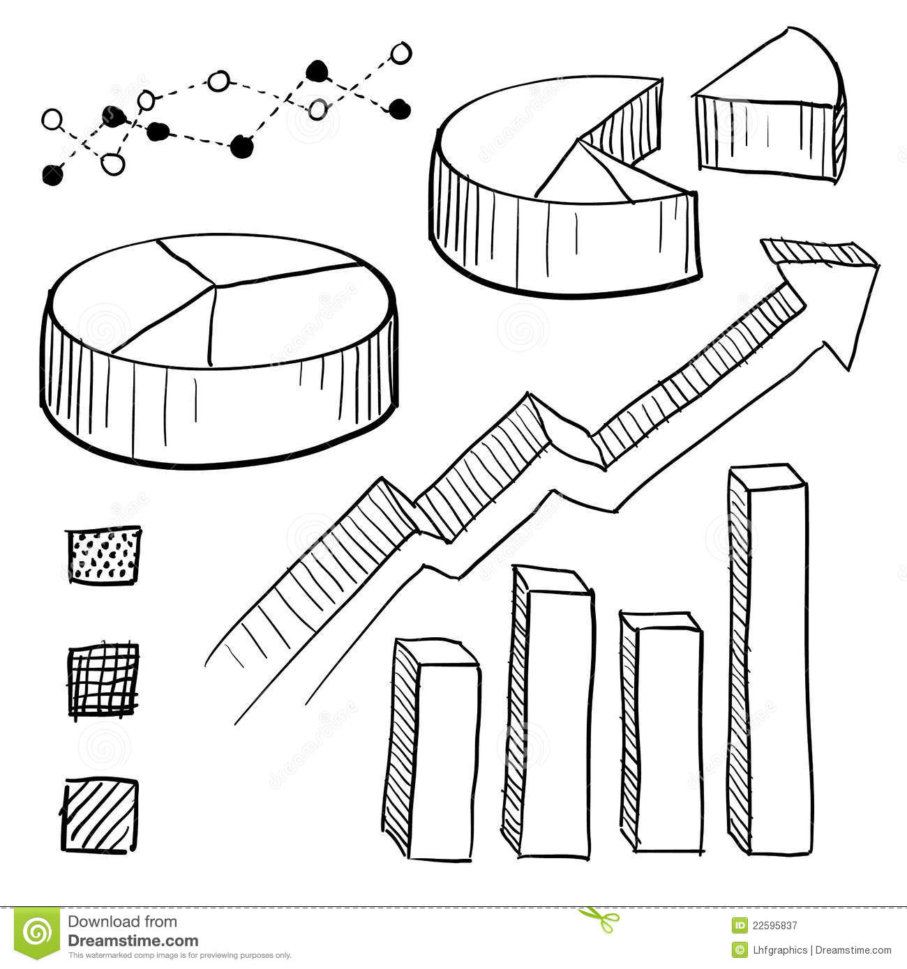 Graph And Chart Elements Sketch Royalty Free Stock