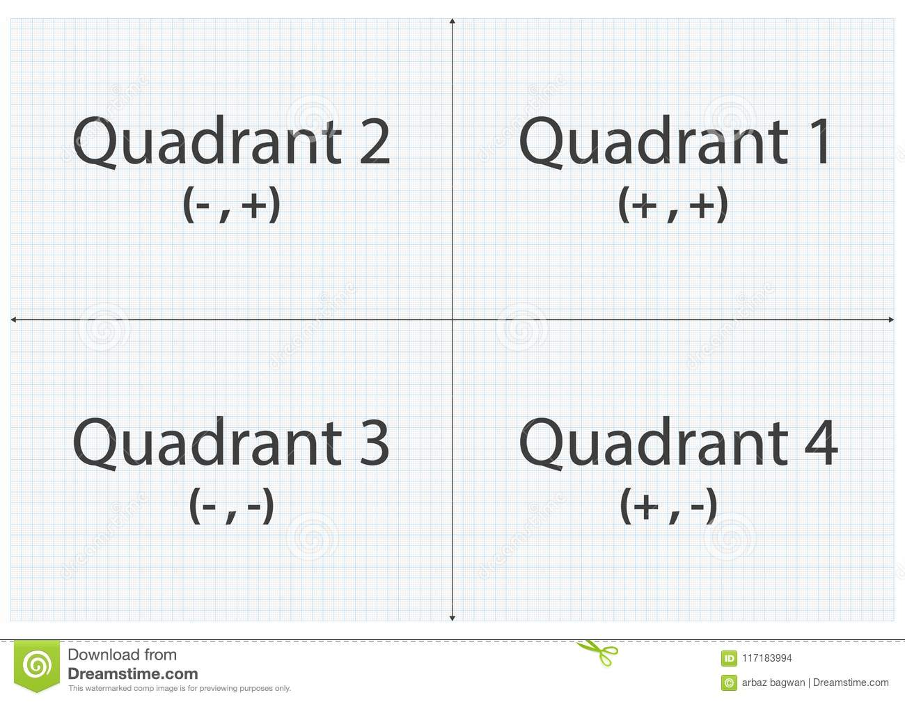 Graph Paper Quadrant X And Y Axis Stock Vector