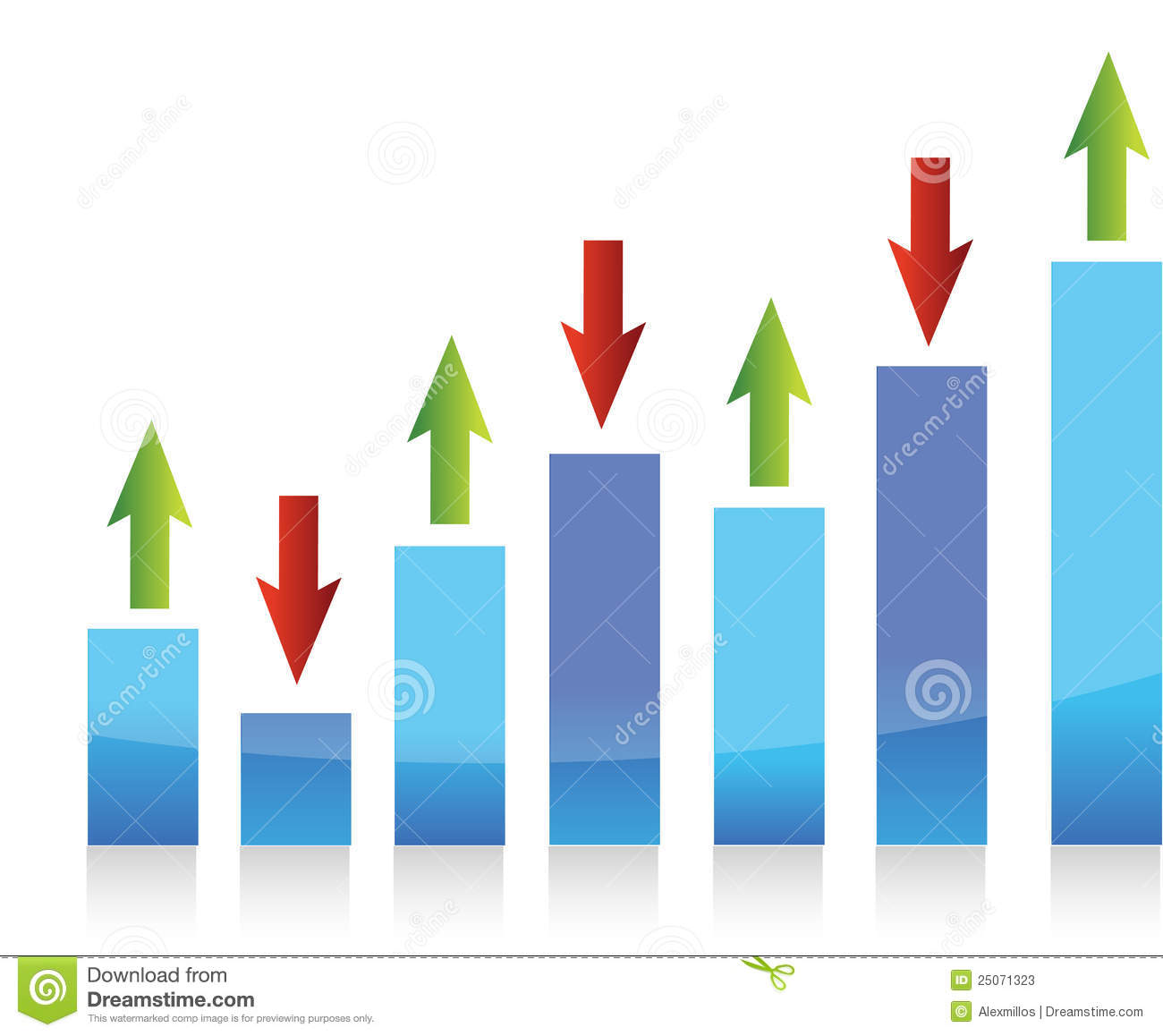 Graph Up And Down Arrows Illustration Stock Vector