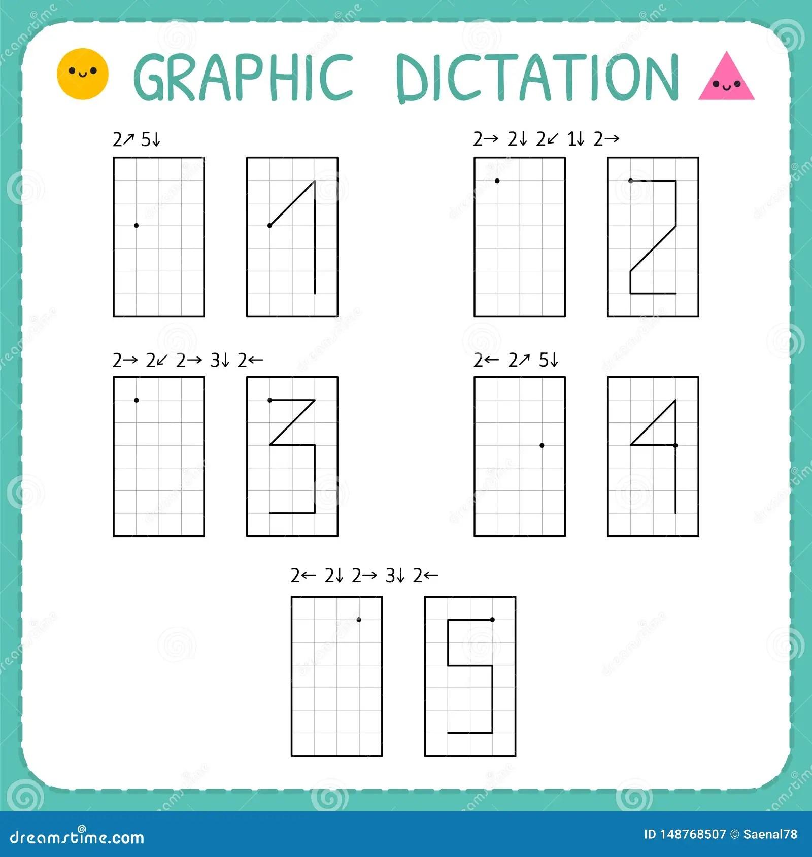 Graphic Dictation Numbers 1 5 Kindergarten Educational