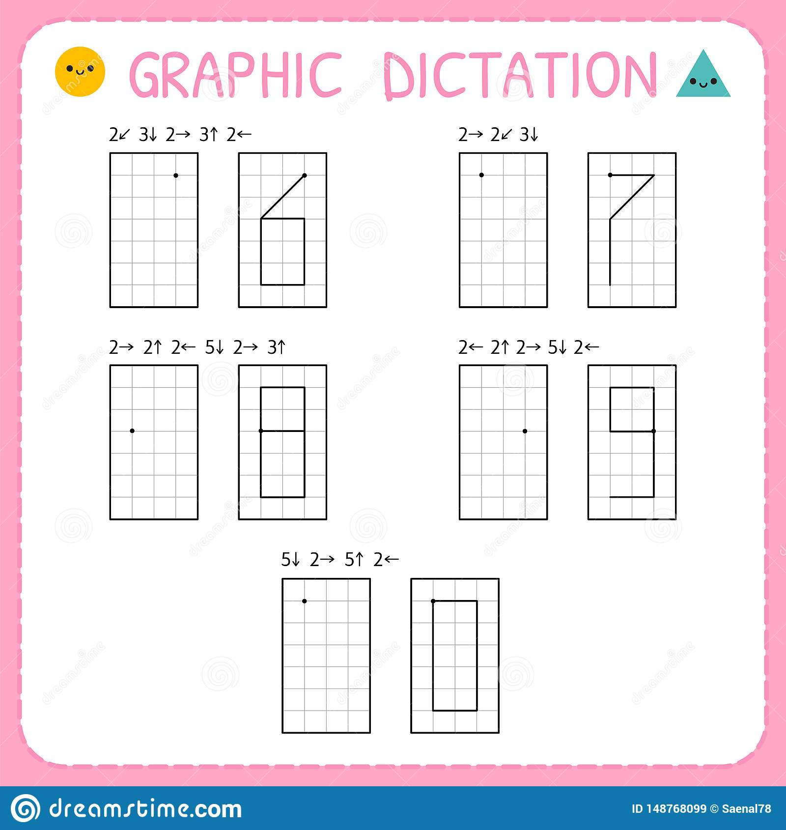 Graphic Dictation Numbers 6 0 Kindergarten Educational